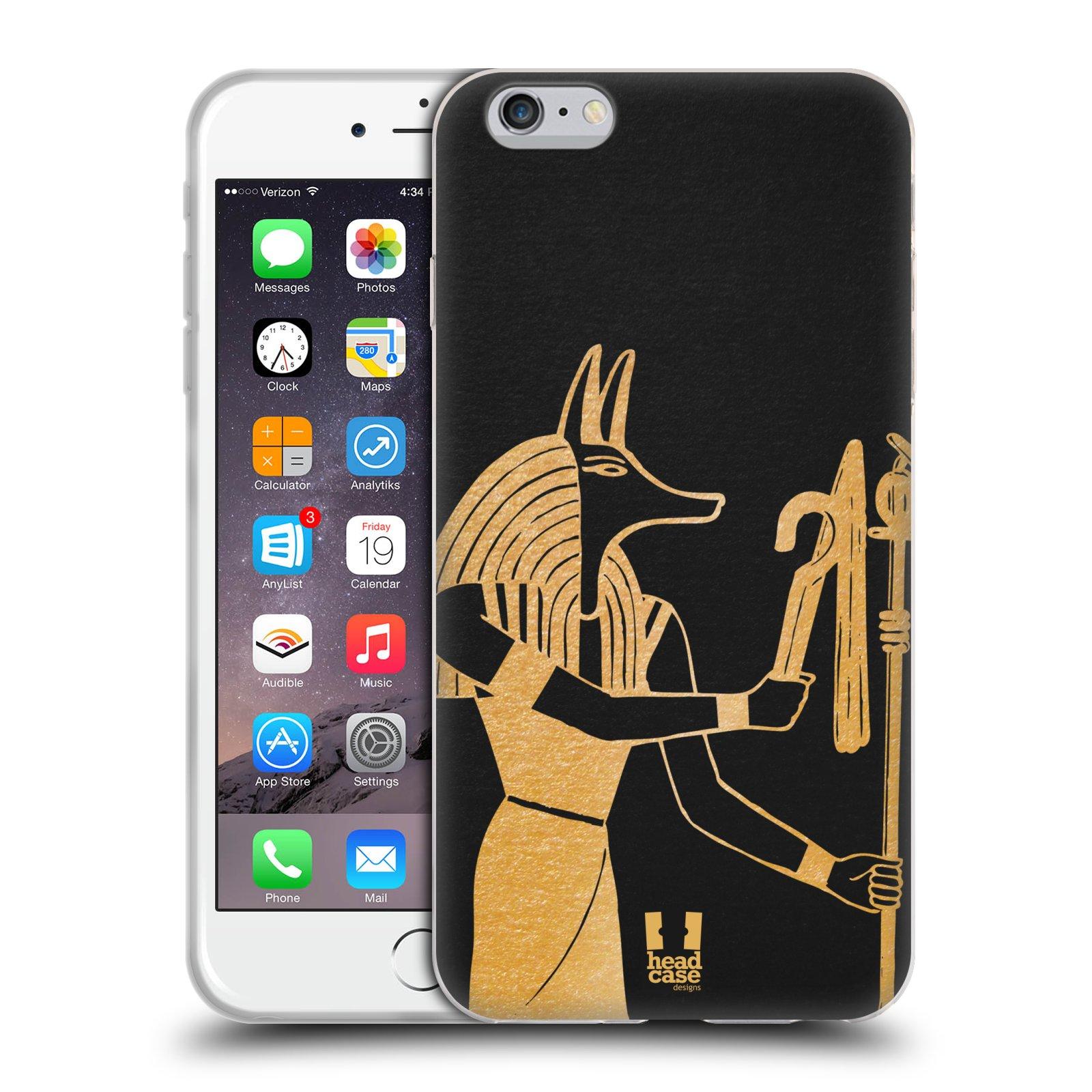 HEAD CASE silikonový obal na mobil Apple Iphone 6 PLUS/ 6S PLUS vzor EGYPT zlatá a černá Anubis
