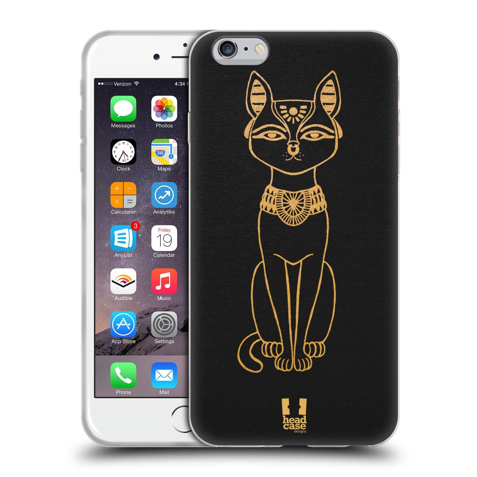 HEAD CASE silikonový obal na mobil Apple Iphone 6 PLUS/ 6S PLUS vzor EGYPT zlatá a černá KOČKA