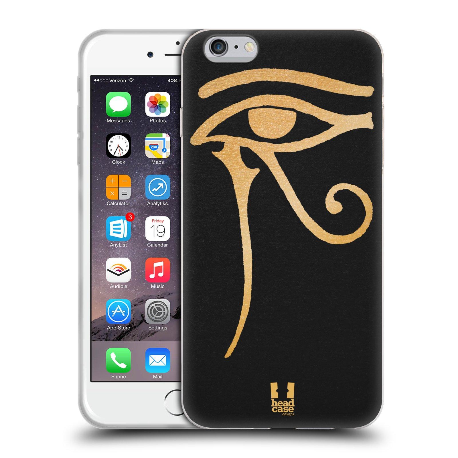 HEAD CASE silikonový obal na mobil Apple Iphone 6 PLUS/ 6S PLUS vzor EGYPT zlatá a černá OKO