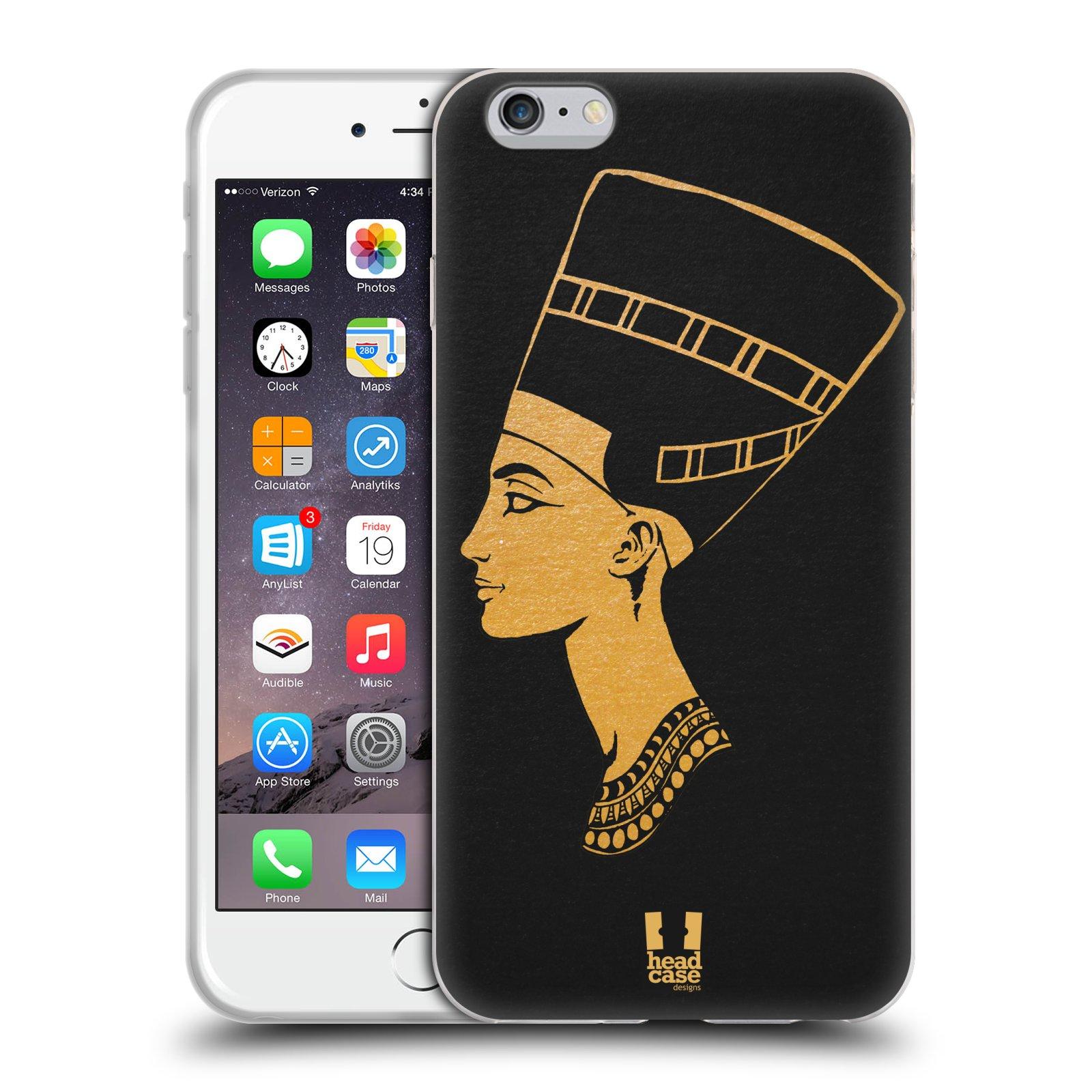 HEAD CASE silikonový obal na mobil Apple Iphone 6 PLUS/ 6S PLUS vzor EGYPT zlatá a černá Nefertiti