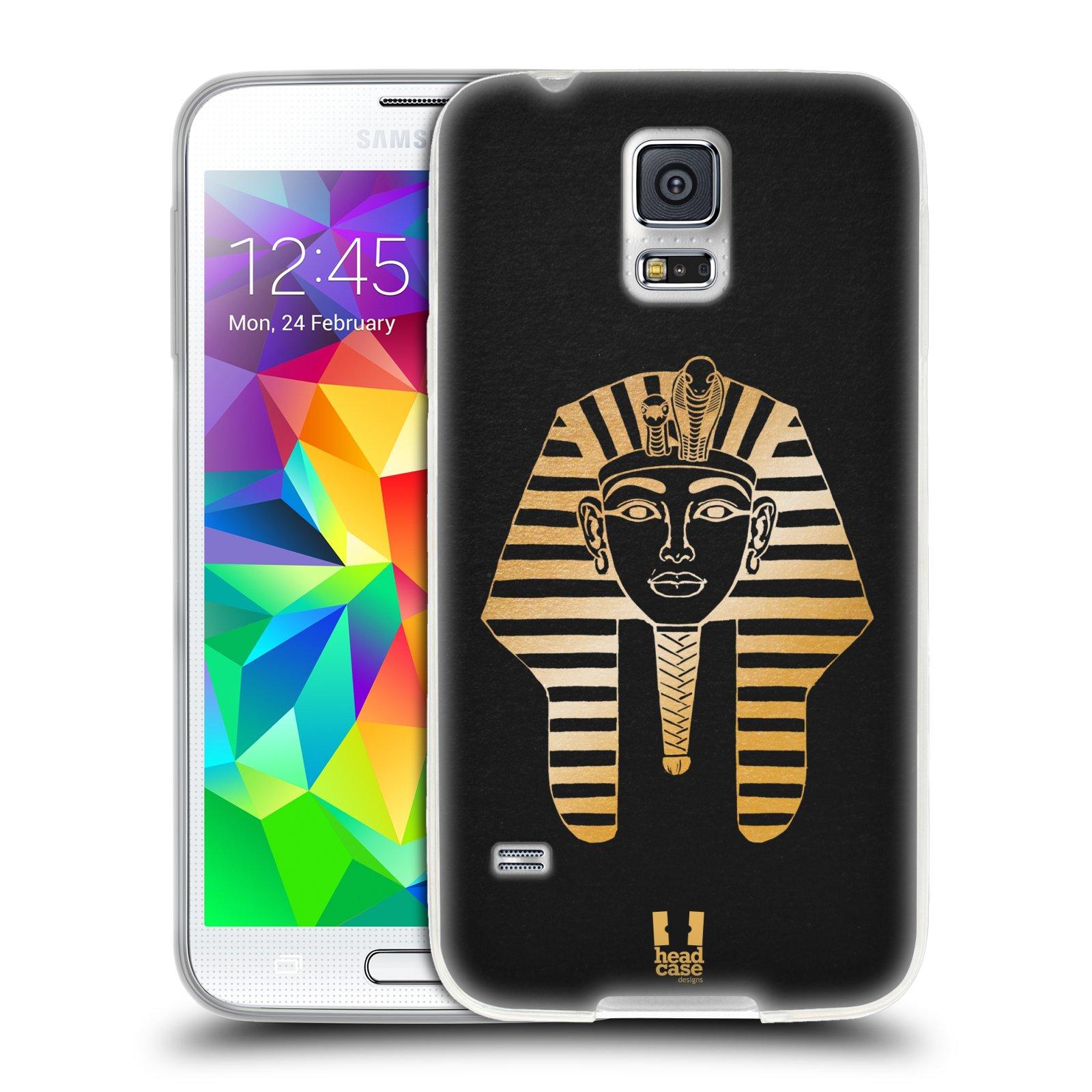 HEAD CASE silikonový obal na mobil Samsung Galaxy S5/S5 NEO vzor EGYPT zlatá a černá FARAÓN