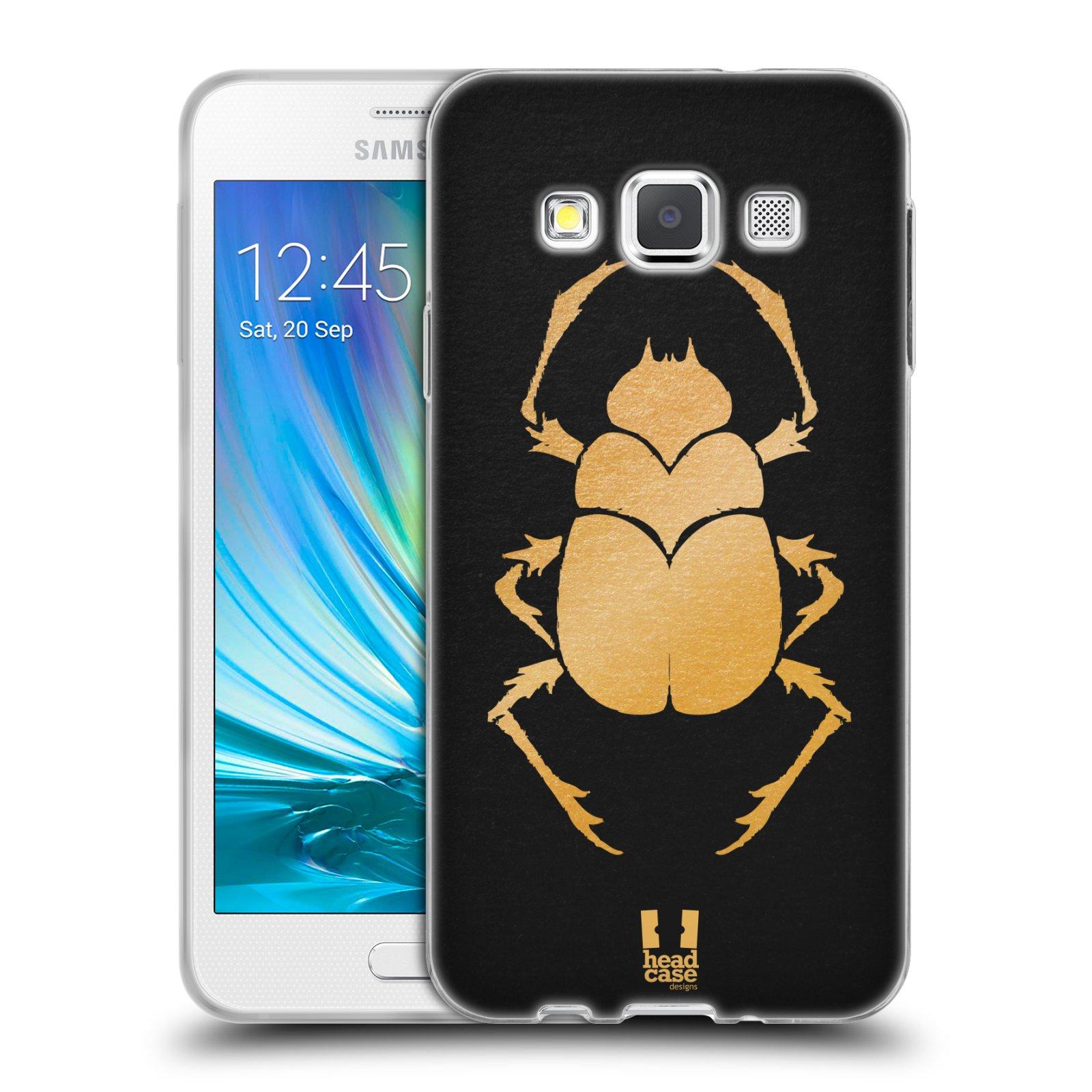 HEAD CASE silikonový obal na mobil Samsung Galaxy A3 vzor EGYPT zlatá a černá BROUK SKARAB