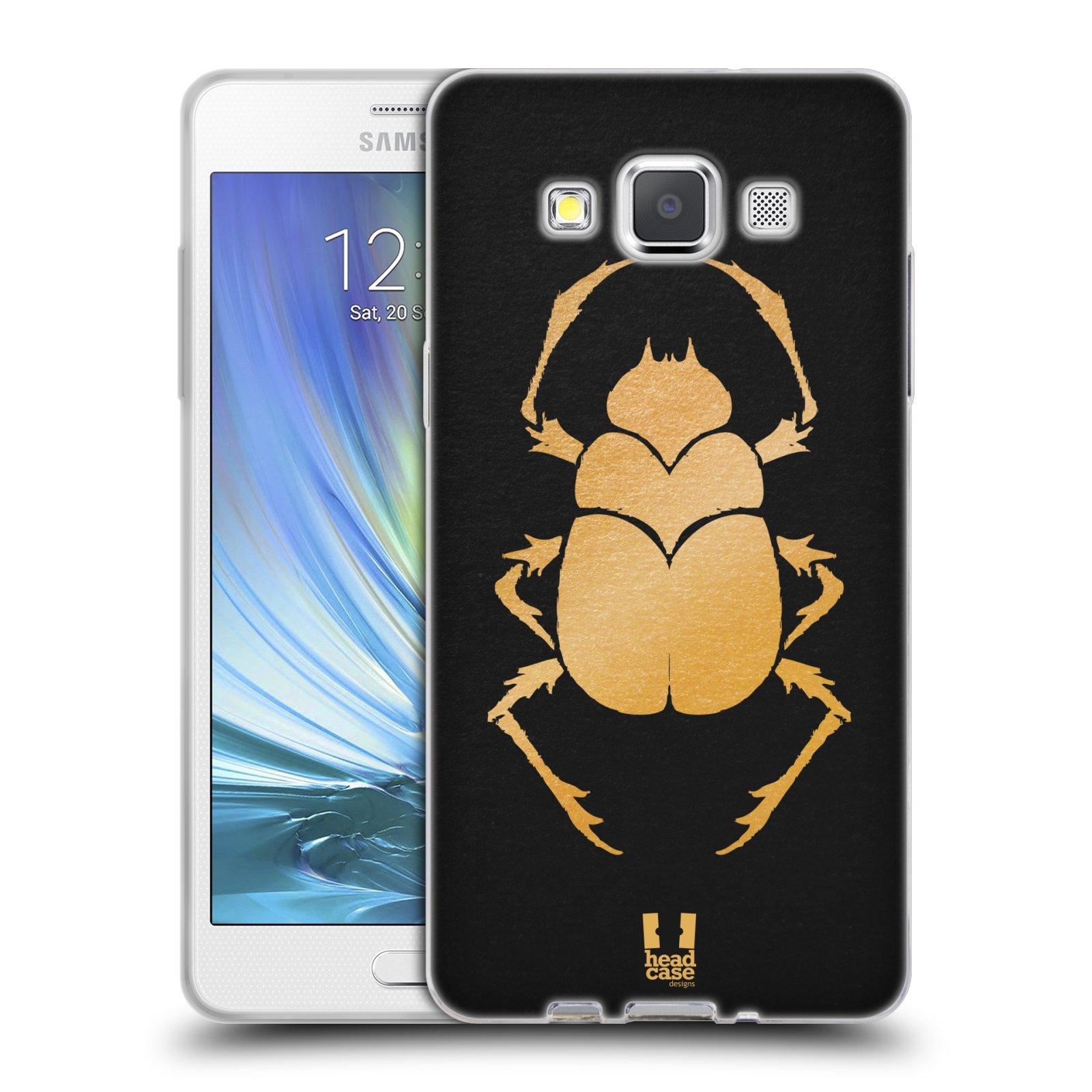 HEAD CASE silikonový obal na mobil Samsung Galaxy A5 vzor EGYPT zlatá a černá BROUK SKARAB