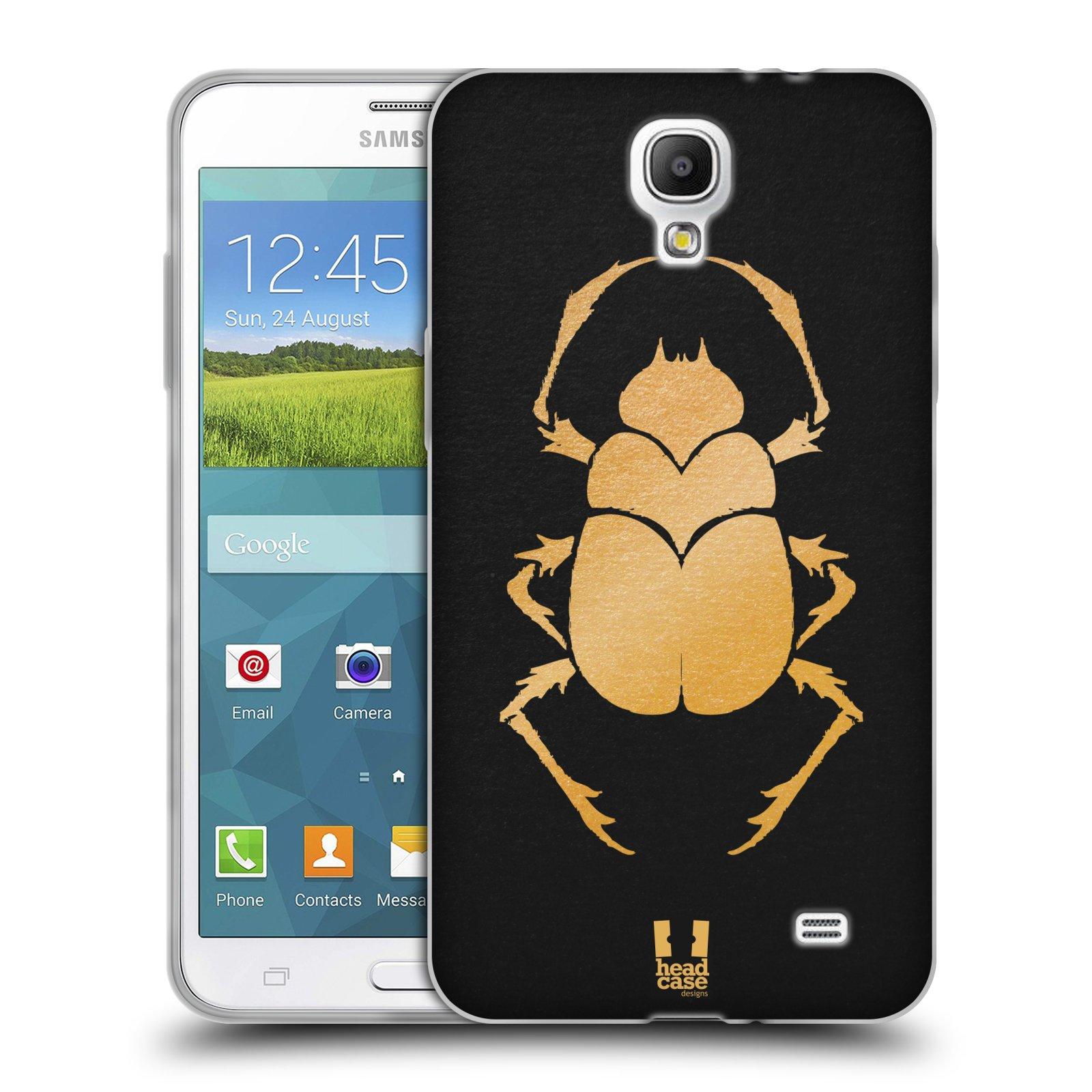 HEAD CASE silikonový obal na mobil Samsung Galaxy Mega 2 vzor EGYPT zlatá a černá BROUK SKARAB