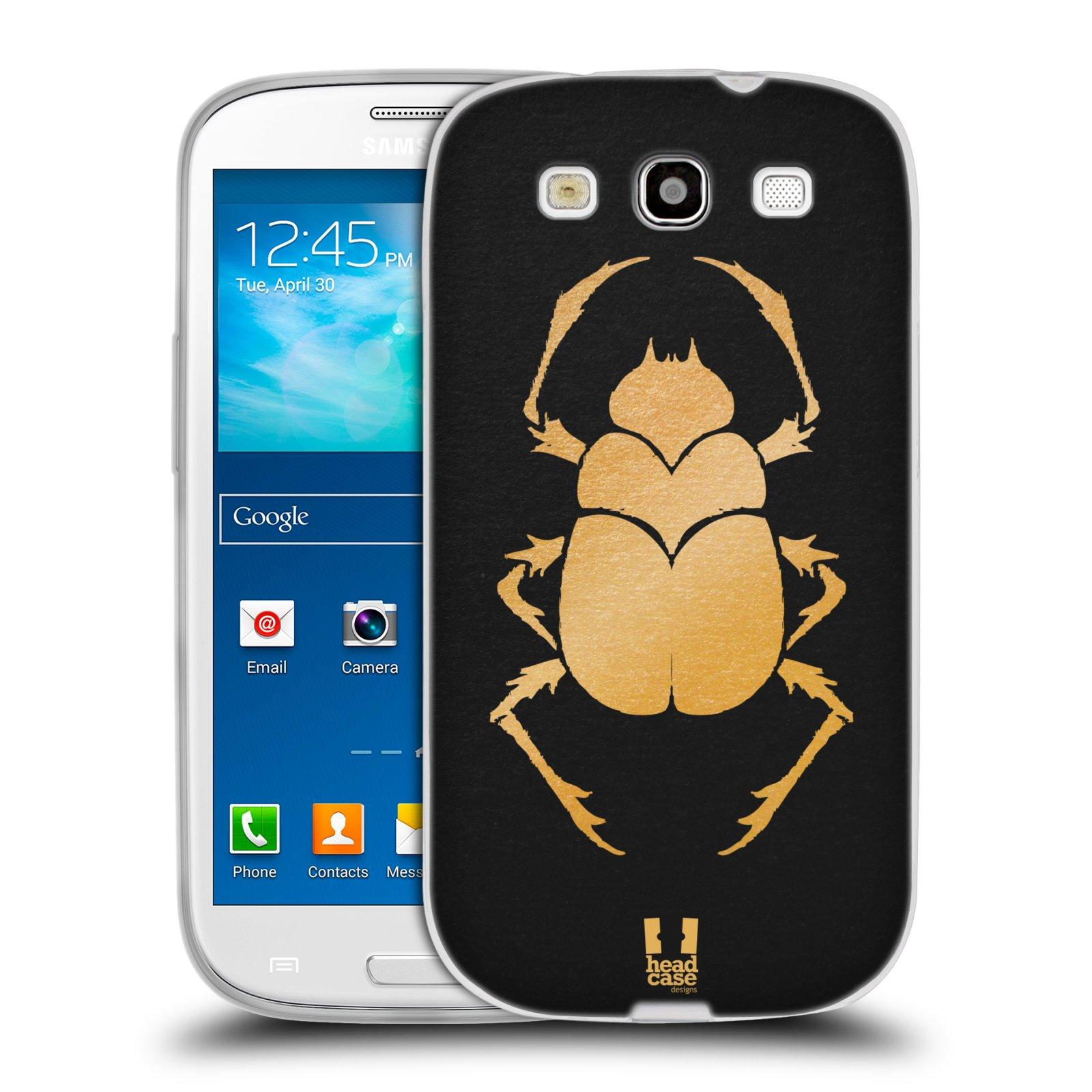 HEAD CASE silikonový obal na mobil Samsung Galaxy S3 i9300 vzor EGYPT zlatá a černá BROUK SKARAB
