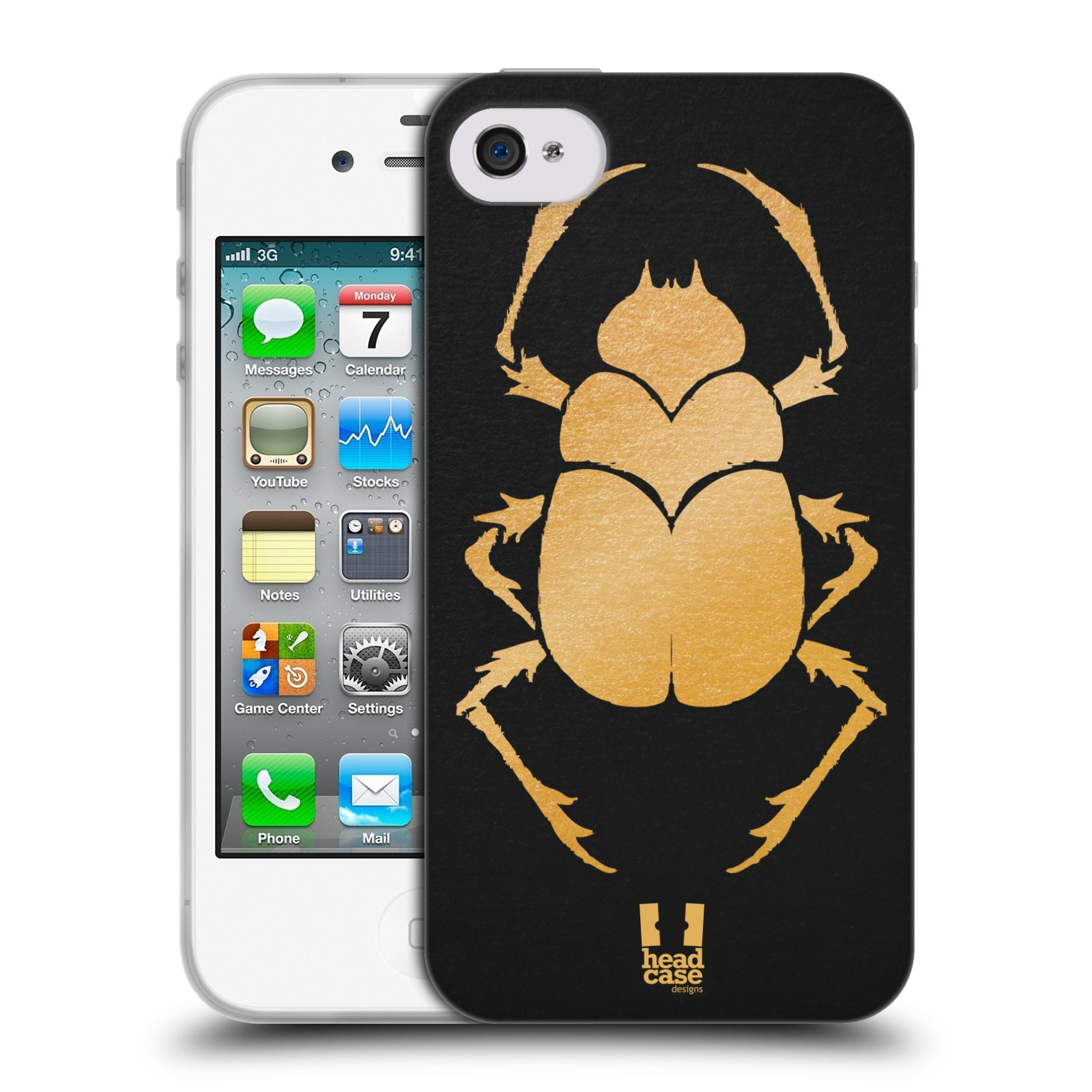 HEAD CASE silikonový obal na mobil Apple Iphone 4/4S vzor EGYPT zlatá a černá BROUK SKARAB
