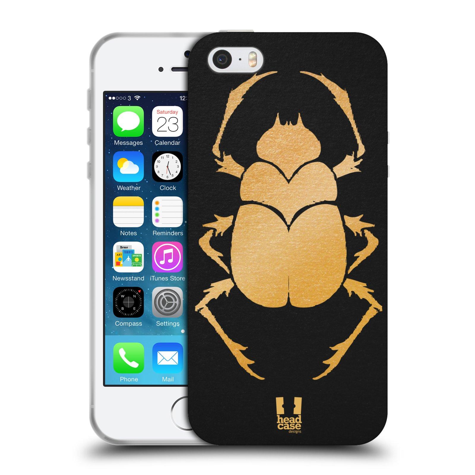 HEAD CASE silikonový obal na mobil Apple Iphone 5/5S vzor EGYPT zlatá a černá BROUK SKARAB