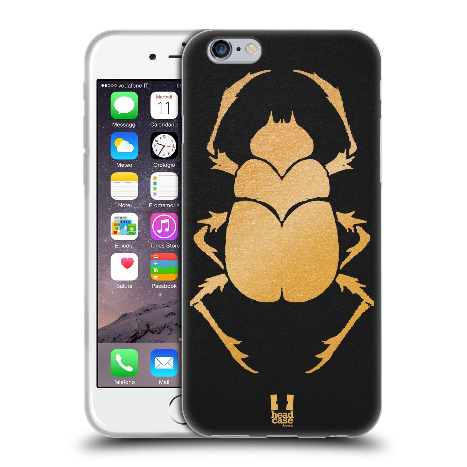 HEAD CASE silikonový obal na mobil Apple Iphone 6/6S vzor EGYPT zlatá a černá BROUK SKARAB