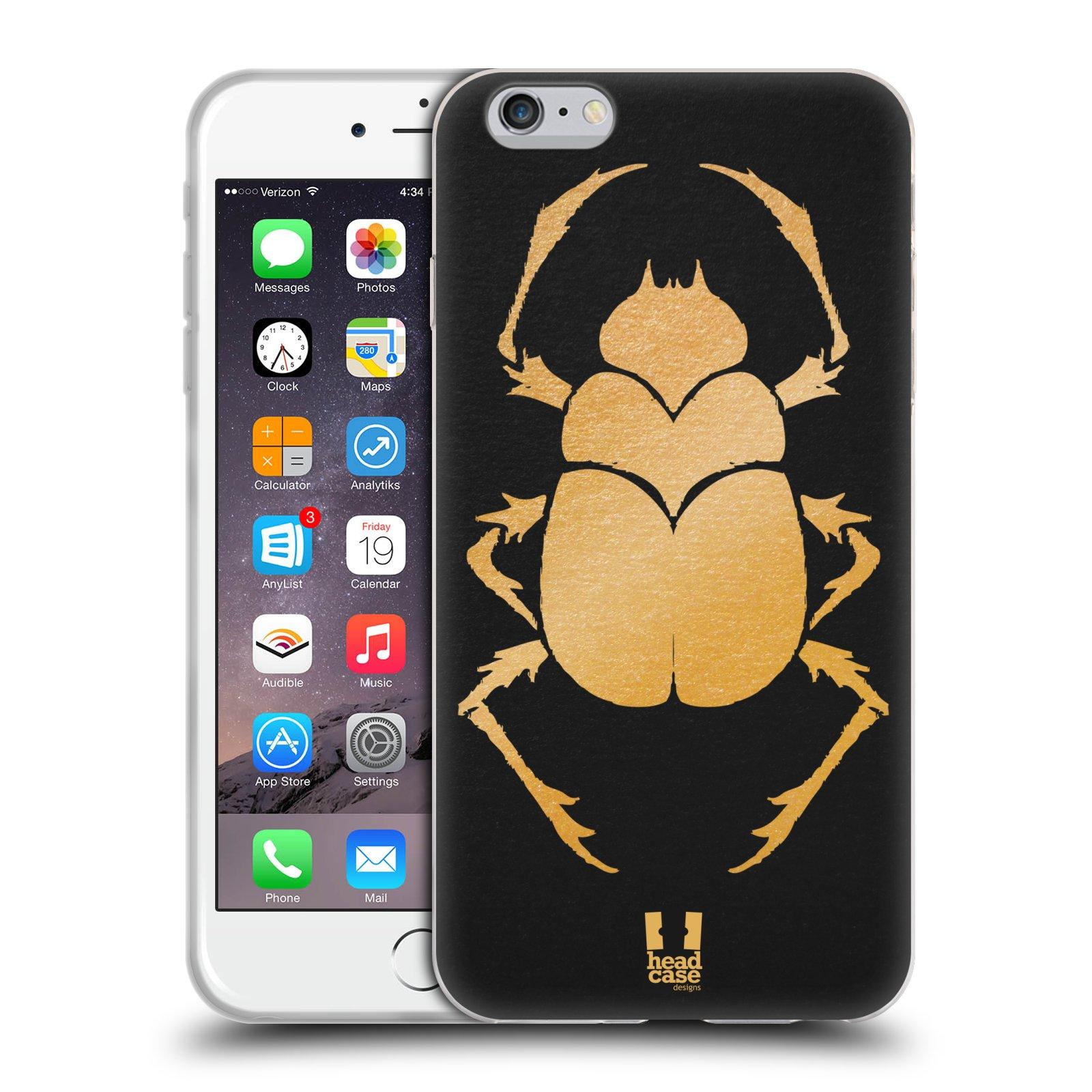 HEAD CASE silikonový obal na mobil Apple Iphone 6 PLUS/ 6S PLUS vzor EGYPT zlatá a černá BROUK SKARAB