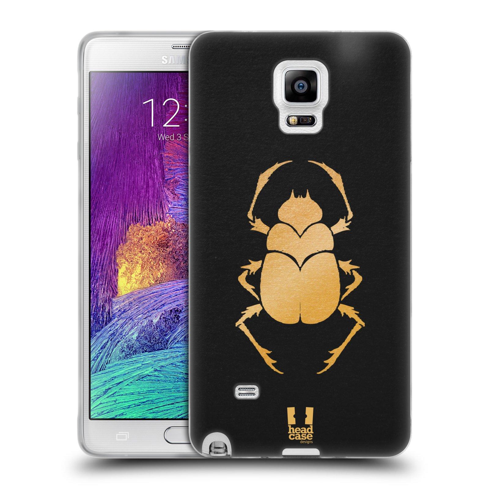 HEAD CASE silikonový obal na mobil Samsung Galaxy Note 4 (N910) vzor EGYPT zlatá a černá BROUK SKARAB