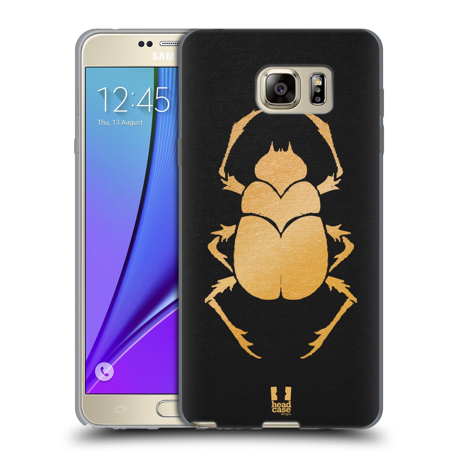 HEAD CASE silikonový obal na mobil Samsung Galaxy Note 5 (N920) vzor EGYPT zlatá a černá BROUK SKARAB