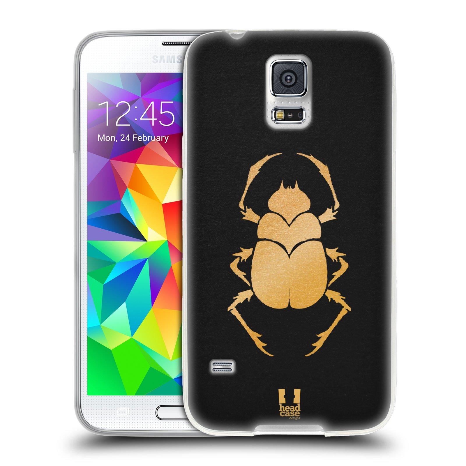 HEAD CASE silikonový obal na mobil Samsung Galaxy S5/S5 NEO vzor EGYPT zlatá a černá BROUK SKARAB