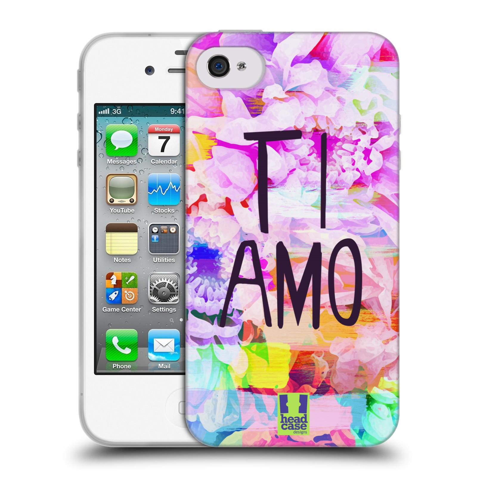HEAD CASE silikonový obal na mobil Apple Iphone 4 / 4S Láska a květy Ti Amo