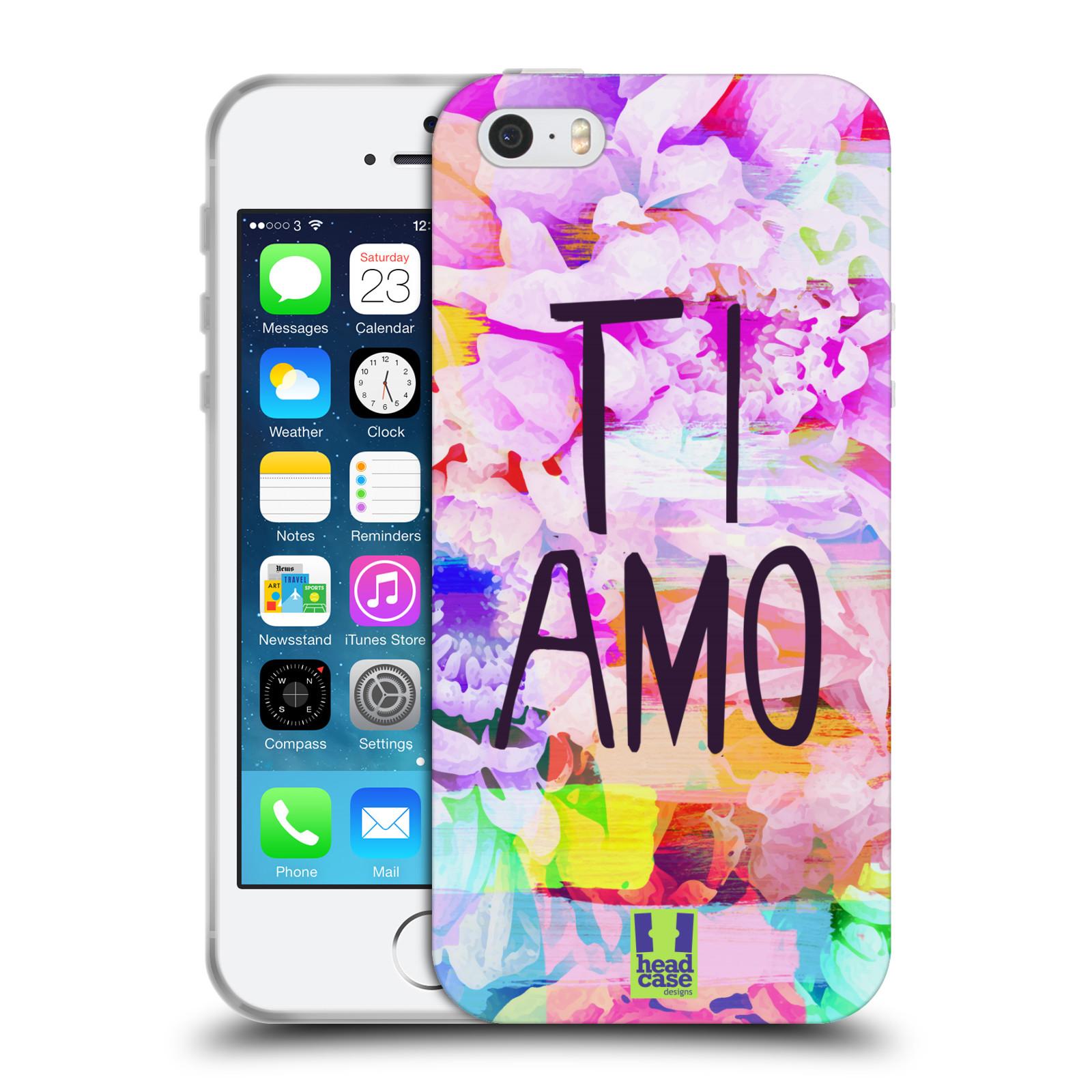 HEAD CASE silikonový obal na mobil Apple Iphone 5 / 5S Láska a květy Ti Amo