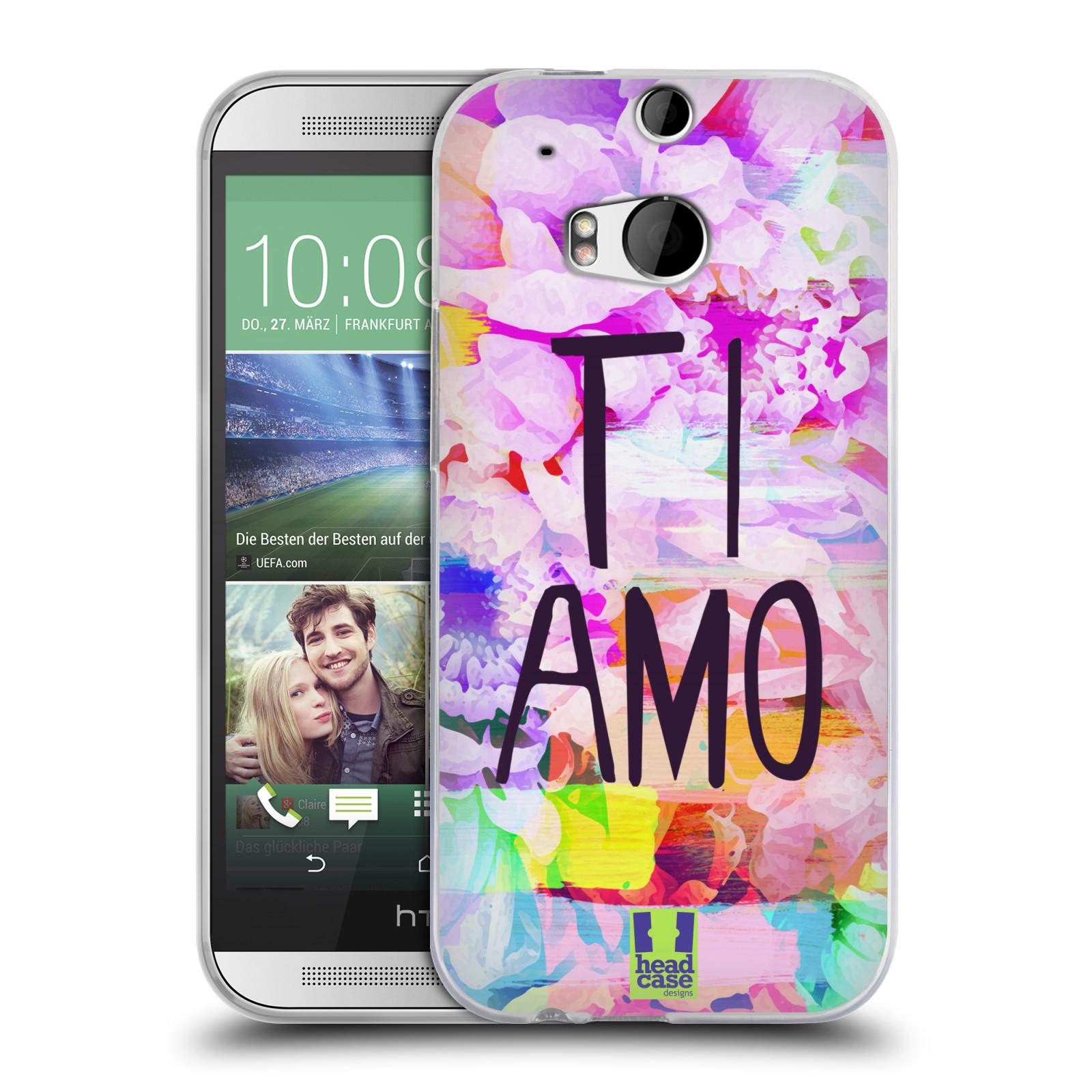 HEAD CASE silikonový obal na mobil HTC One M8 / M8s  Láska a květy Ti Amo