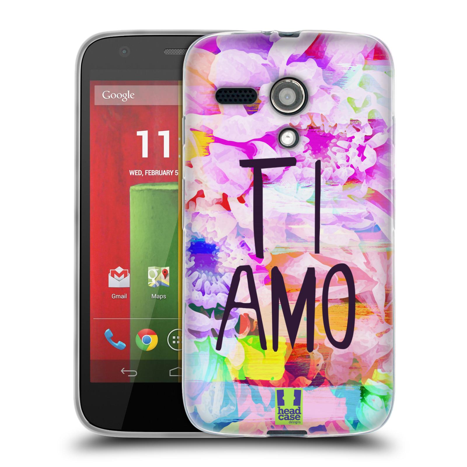 HEAD CASE silikonový obal na mobil Motorola Moto G Láska a květy Ti Amo