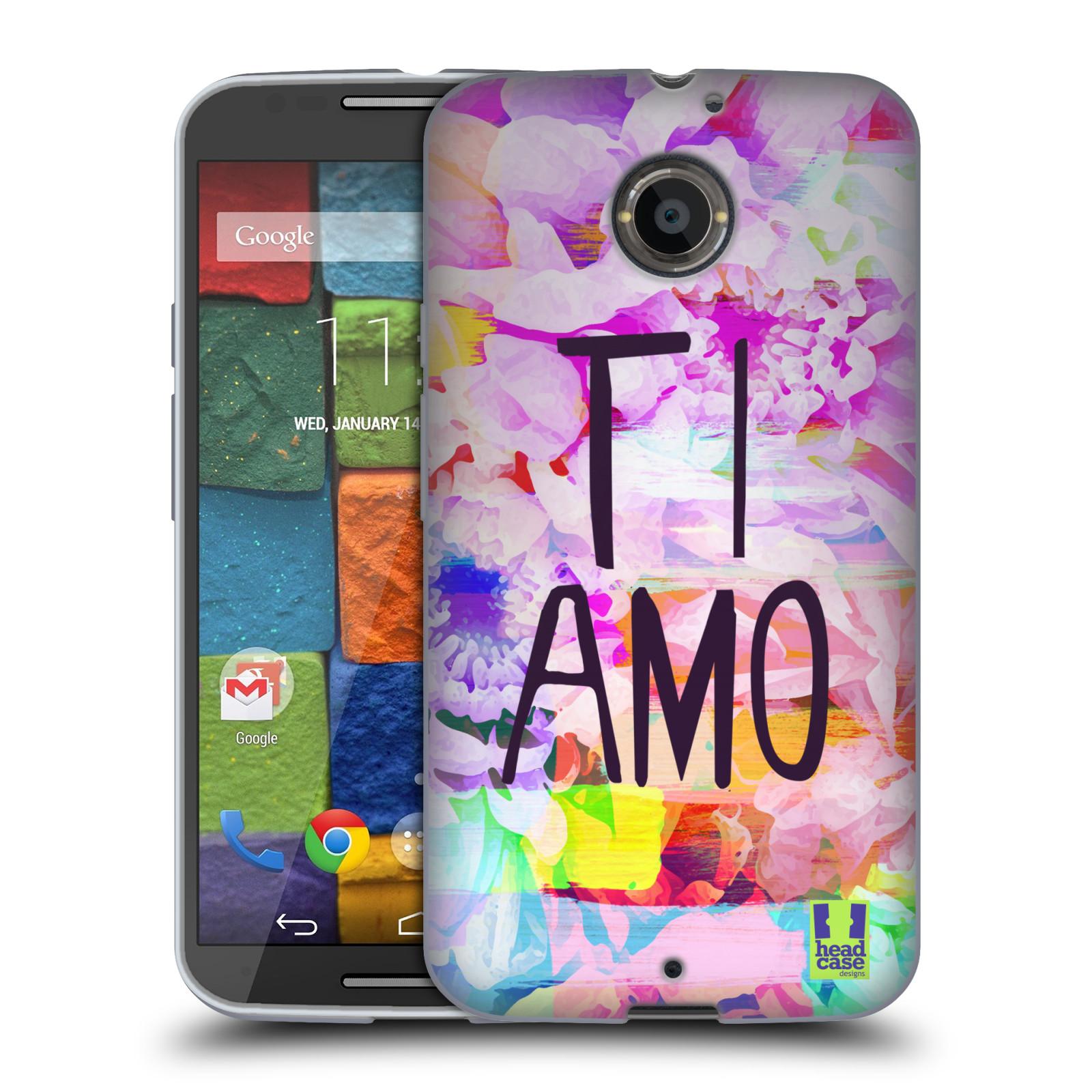 HEAD CASE silikonový obal na mobil Motorola MOTO X (2nd Generation) Láska a květy Ti Amo
