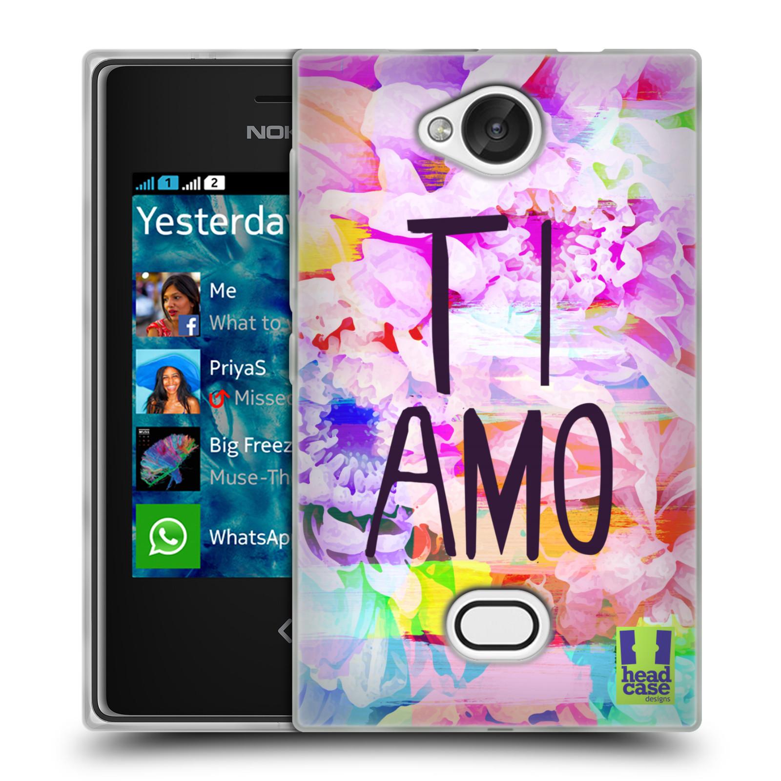 HEAD CASE silikonový obal na mobil Nokia Asha 503 Láska a květy Ti Amo