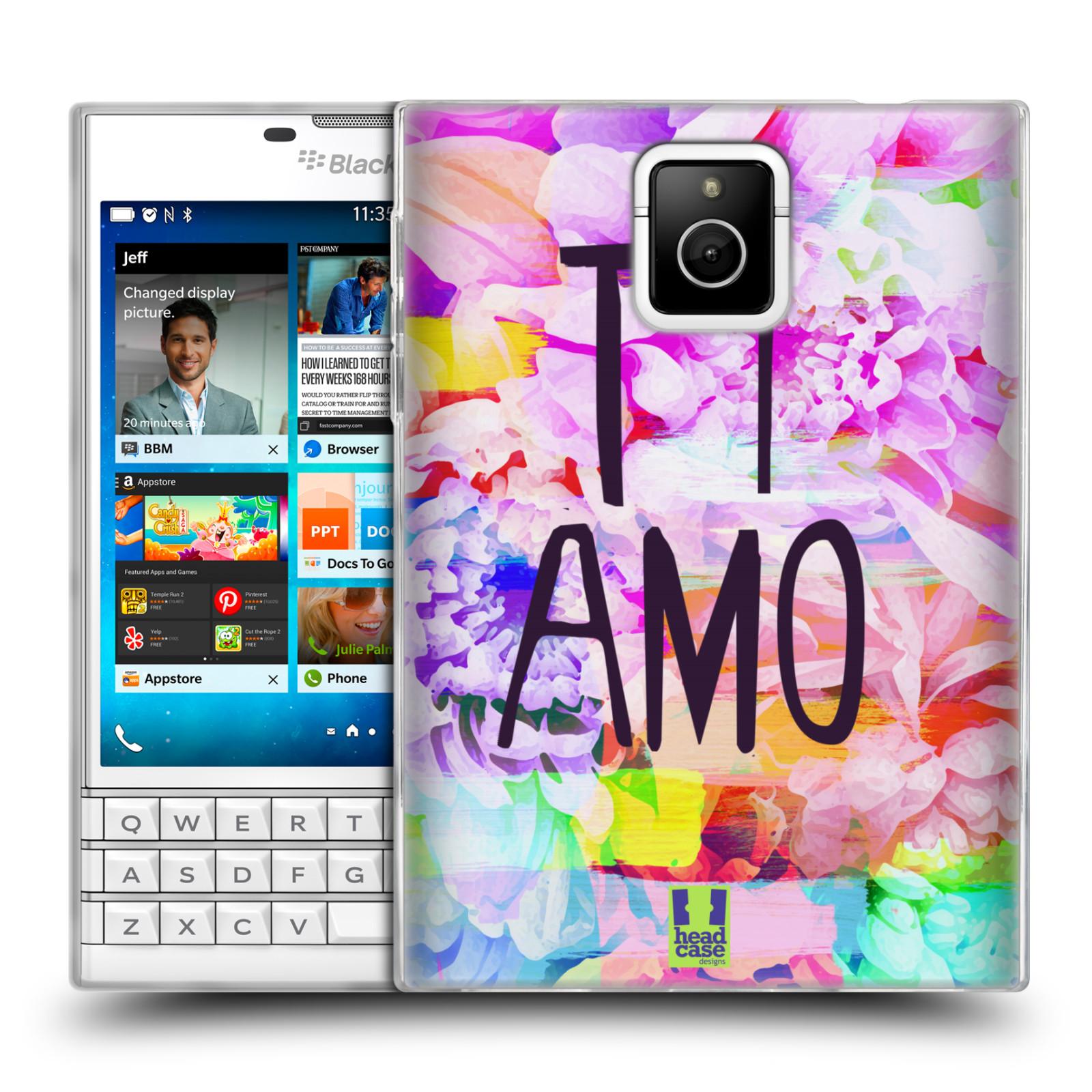 HEAD CASE silikonový obal na mobil Blackberry PASSPORT Láska a květy Ti Amo 0ceddd79e74