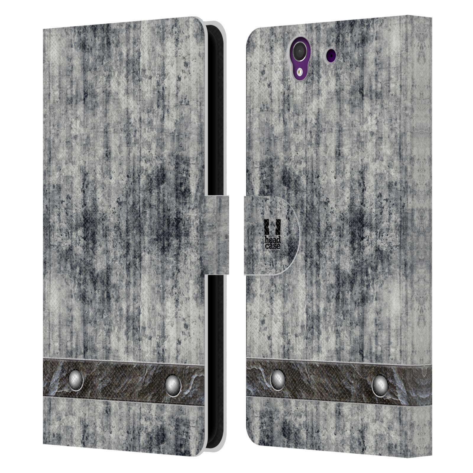 HEAD CASE Flipové pouzdro pro mobil SONY XPERIA Z (C6603) stavební textury beton šedá