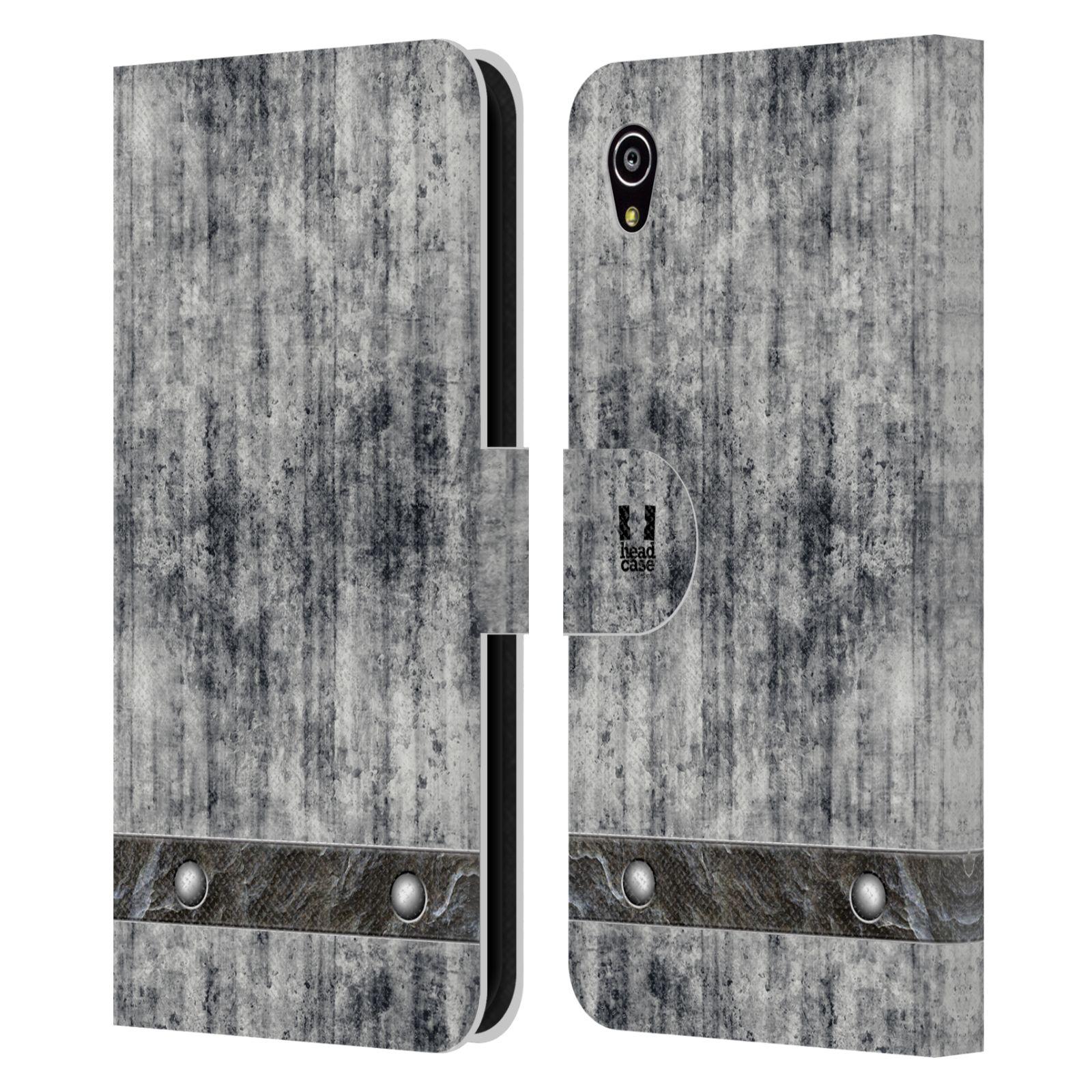 HEAD CASE Flipové pouzdro pro mobil SONY XPERIA M4 AQUA stavební textury beton šedá