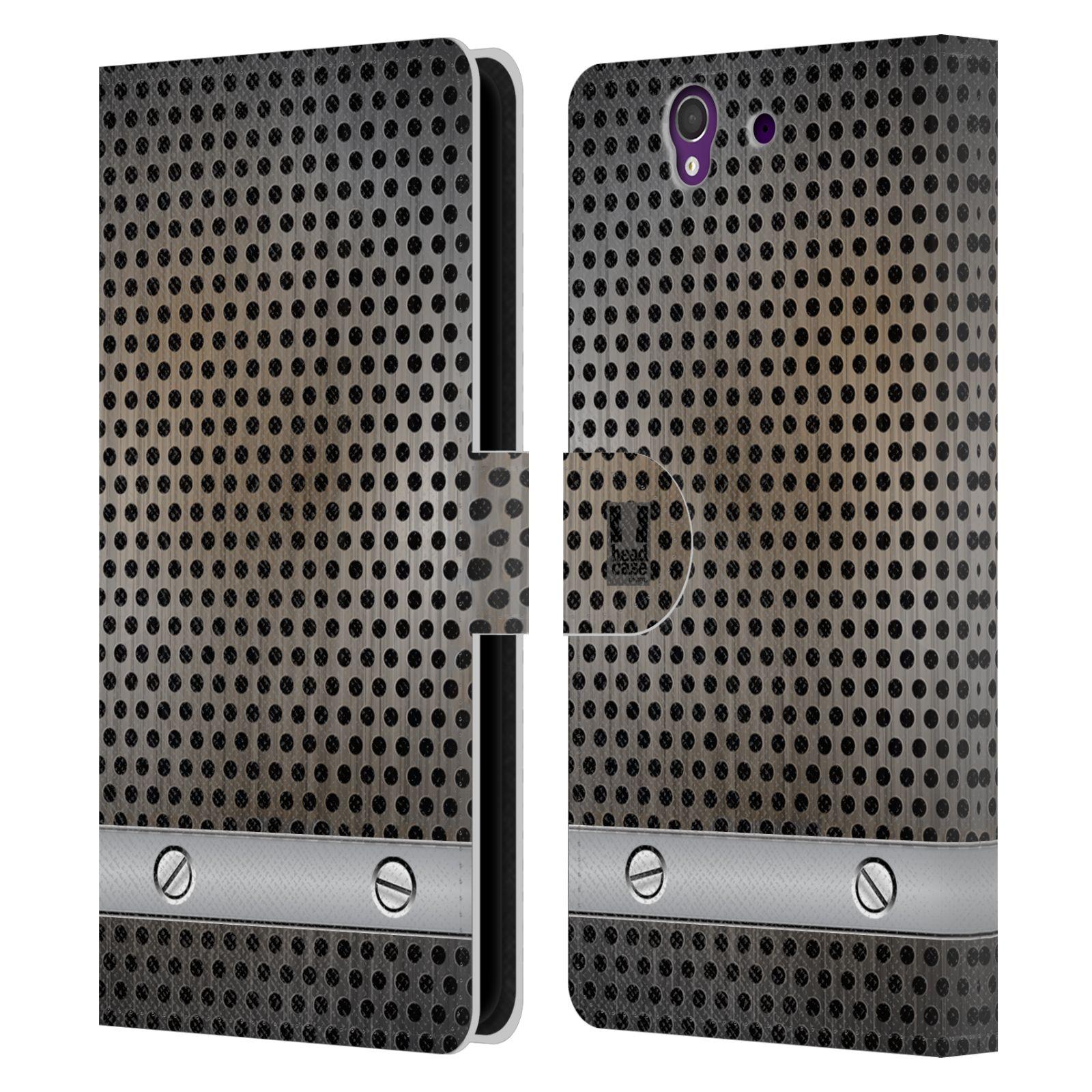 HEAD CASE Flipové pouzdro pro mobil SONY XPERIA Z (C6603) stavební textury kovový plech šedá