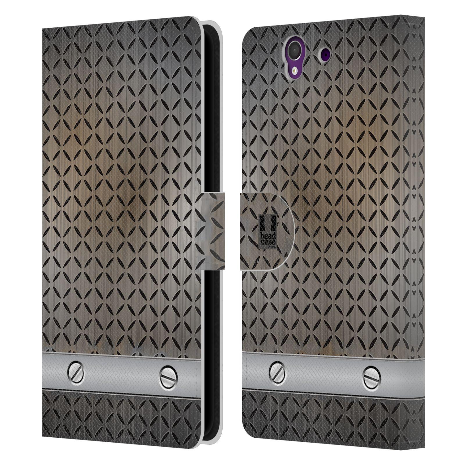 HEAD CASE Flipové pouzdro pro mobil SONY XPERIA Z (C6603) stavební textury železo šedá barva