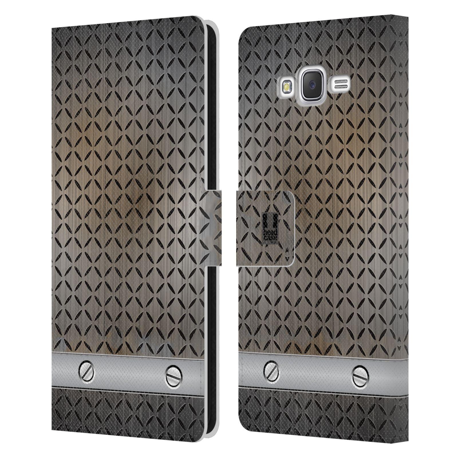 HEAD CASE Flipové pouzdro pro mobil Samsung Galaxy J7, J700 stavební textury železo šedá barva