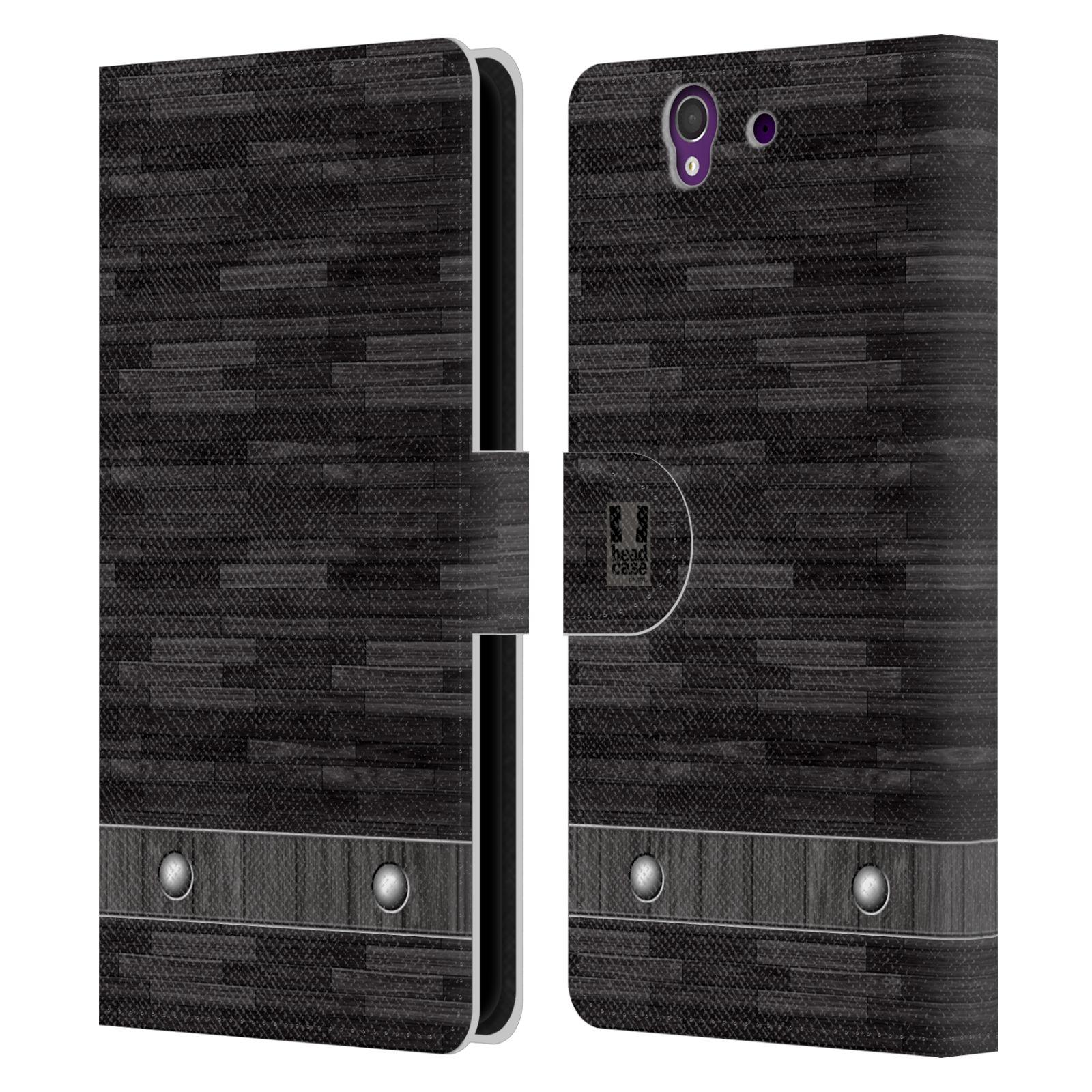 HEAD CASE Flipové pouzdro pro mobil SONY XPERIA Z (C6603) stavební textury dřevo černá barva
