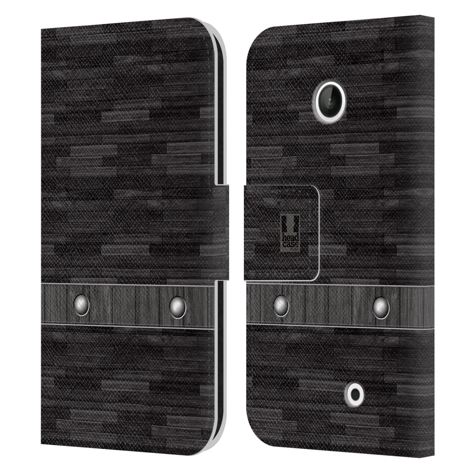 HEAD CASE Flipové pouzdro pro mobil NOKIA LUMIA 630 / LUMIA 630 DUAL stavební textury dřevo černá barva