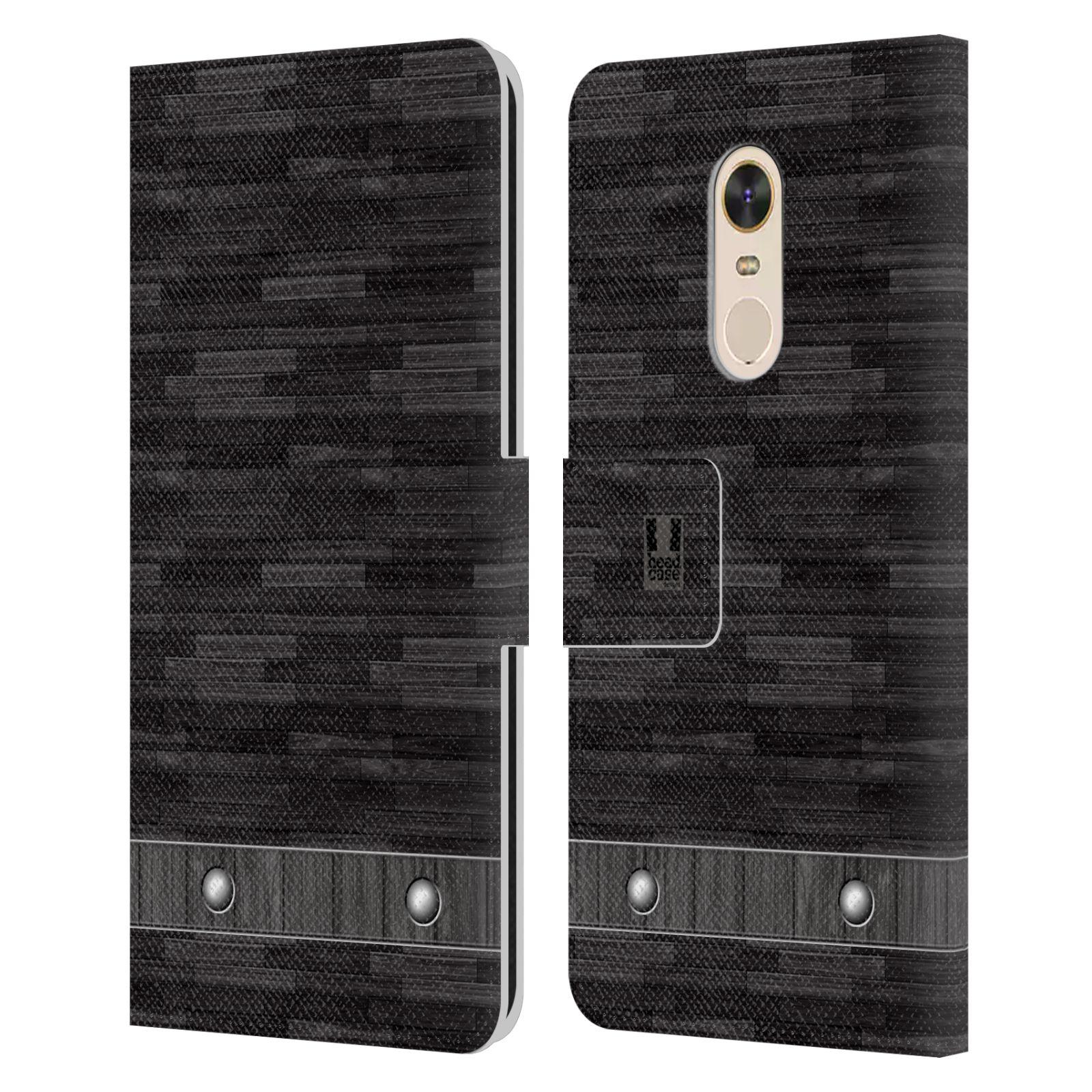 HEAD CASE Flipové pouzdro pro mobil Xiaomi Redmi Note 5 stavební textury dřevo černá barva