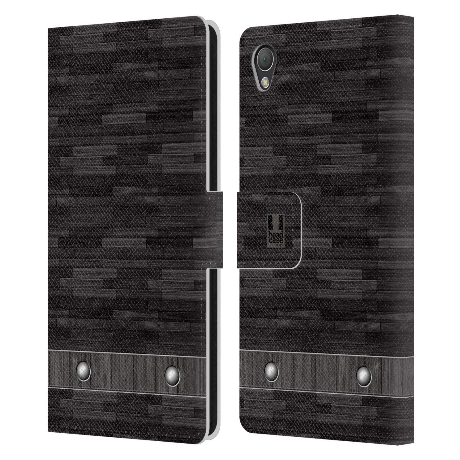 HEAD CASE Flipové pouzdro pro mobil SONY XPERIA Z3 stavební textury dřevo černá barva