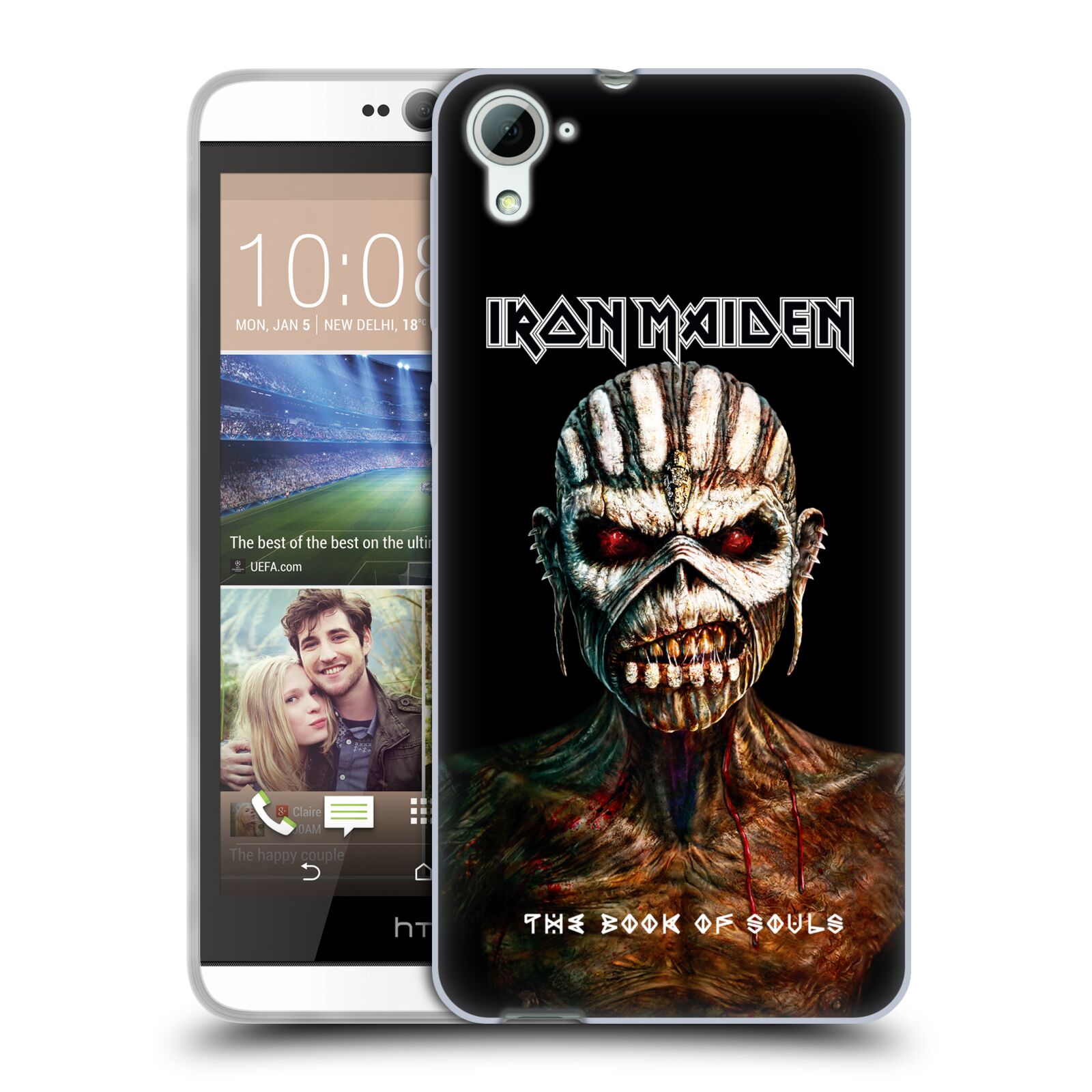 HEAD CASE silikonový obal na mobil HTC Desire 826 Heavymetalová skupina Iron Maiden The Book Of Souls
