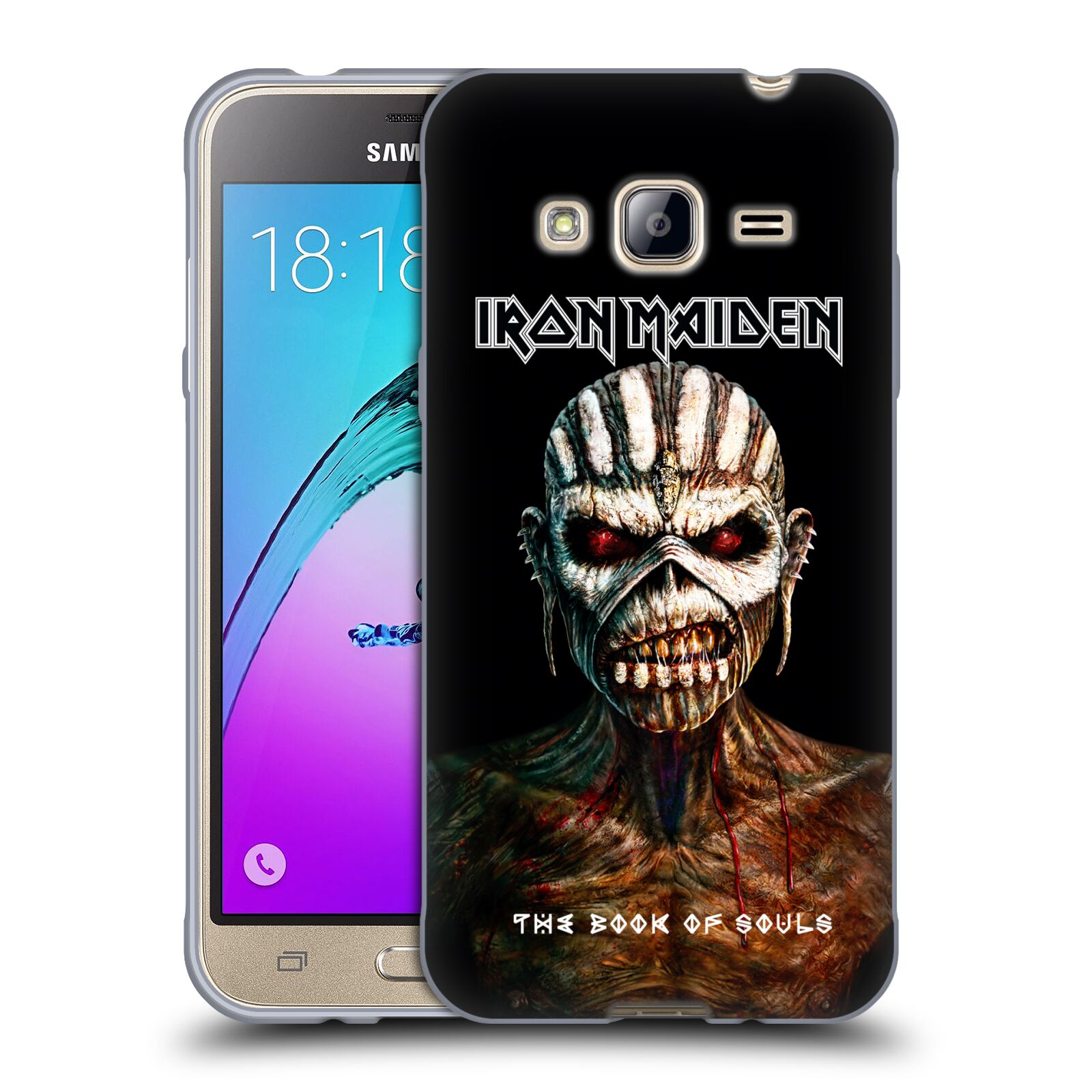 HEAD CASE silikonový obal na mobil Samsung Galaxy J3, J3 2016 Heavymetalová skupina Iron Maiden The Book Of Souls