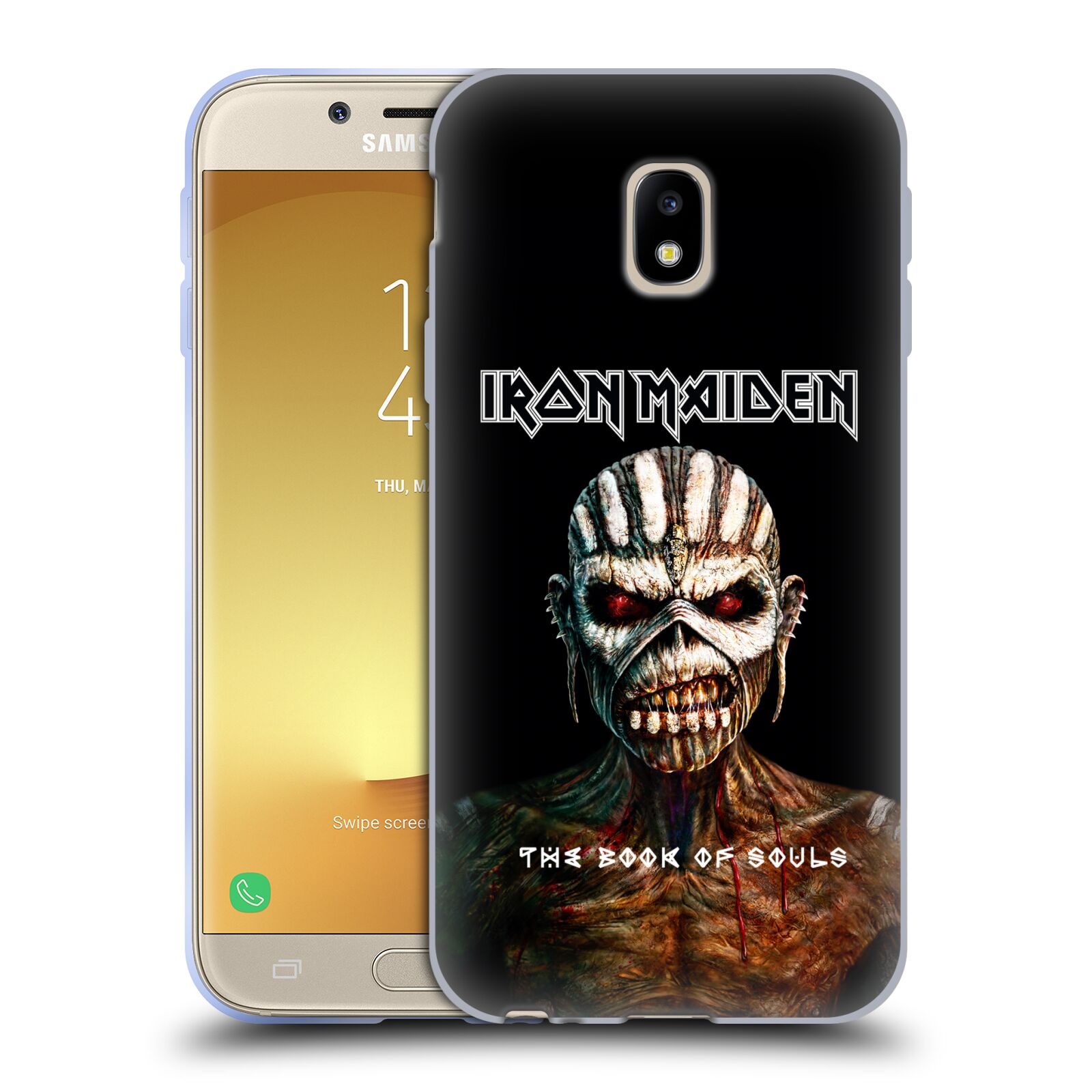 HEAD CASE silikonový obal na mobil Samsung Galaxy J3 2017 (J330, J330F) Heavymetalová skupina Iron Maiden The Book Of Souls