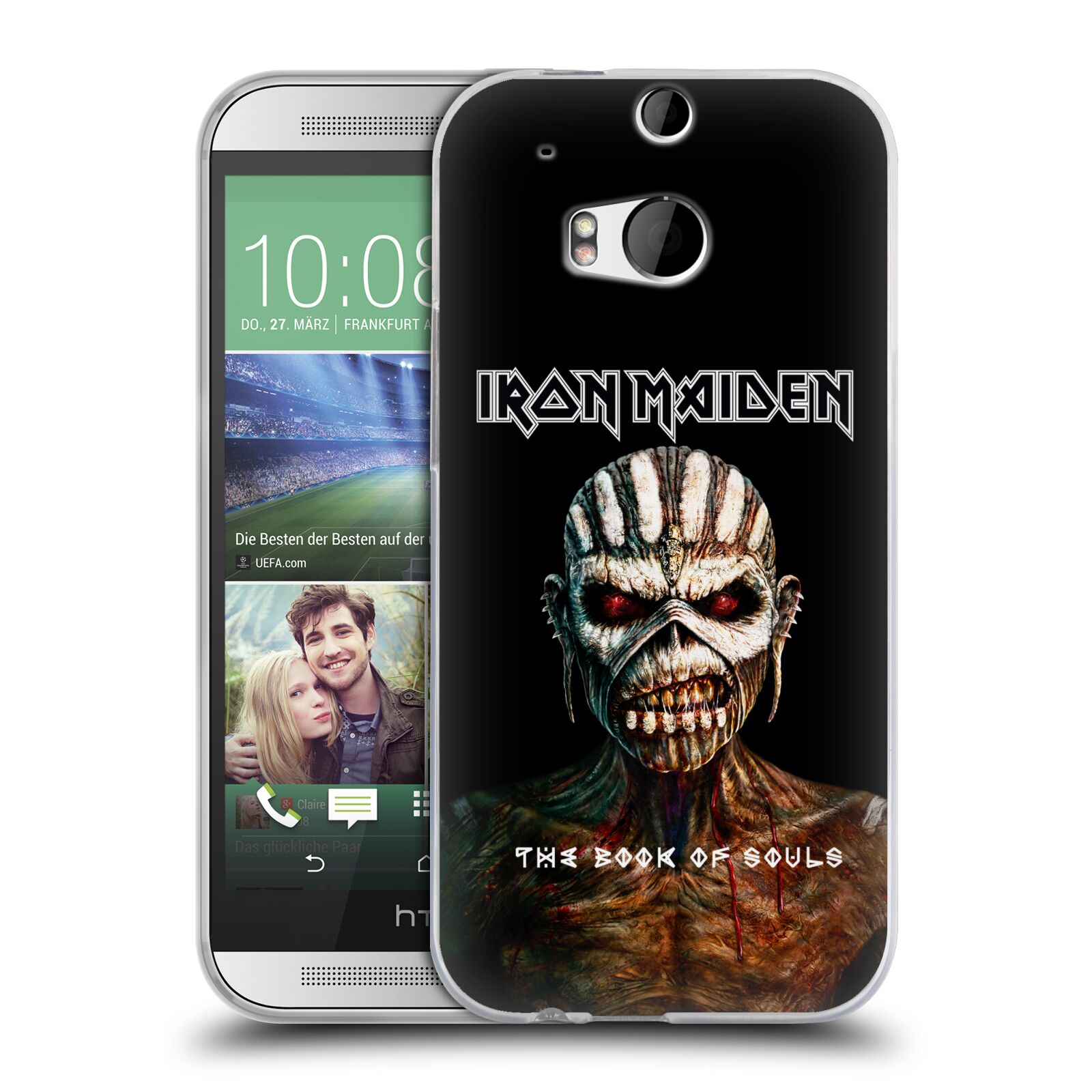 HEAD CASE silikonový obal na mobil HTC one M8 / M8s Heavymetalová skupina Iron Maiden The Book Of Souls