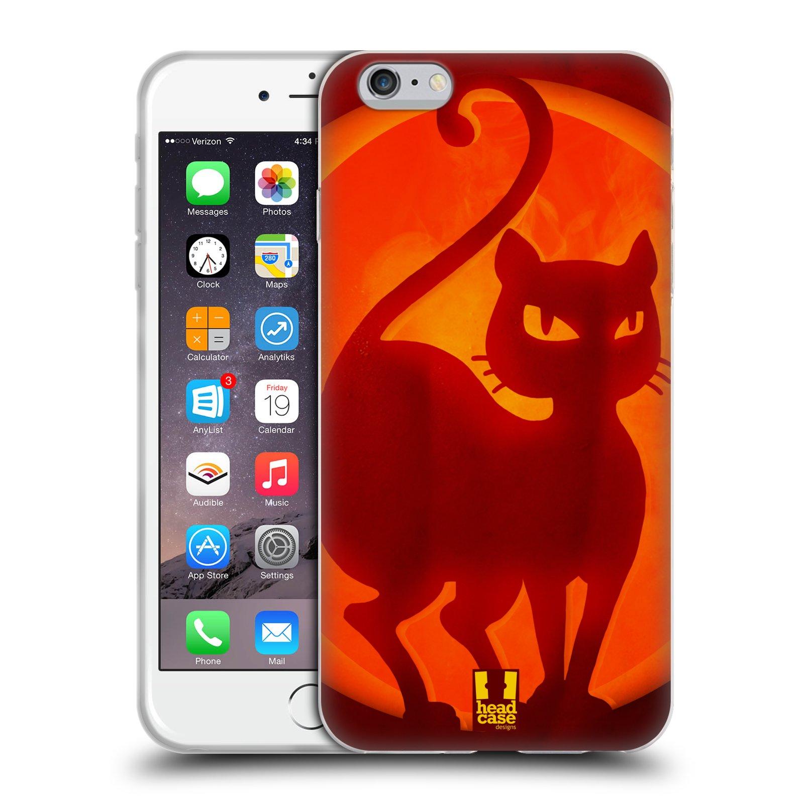HEAD CASE silikonový obal na mobil Apple Iphone 6 PLUS/ 6S PLUS vzor odraz svítilny oranžová KOČKA