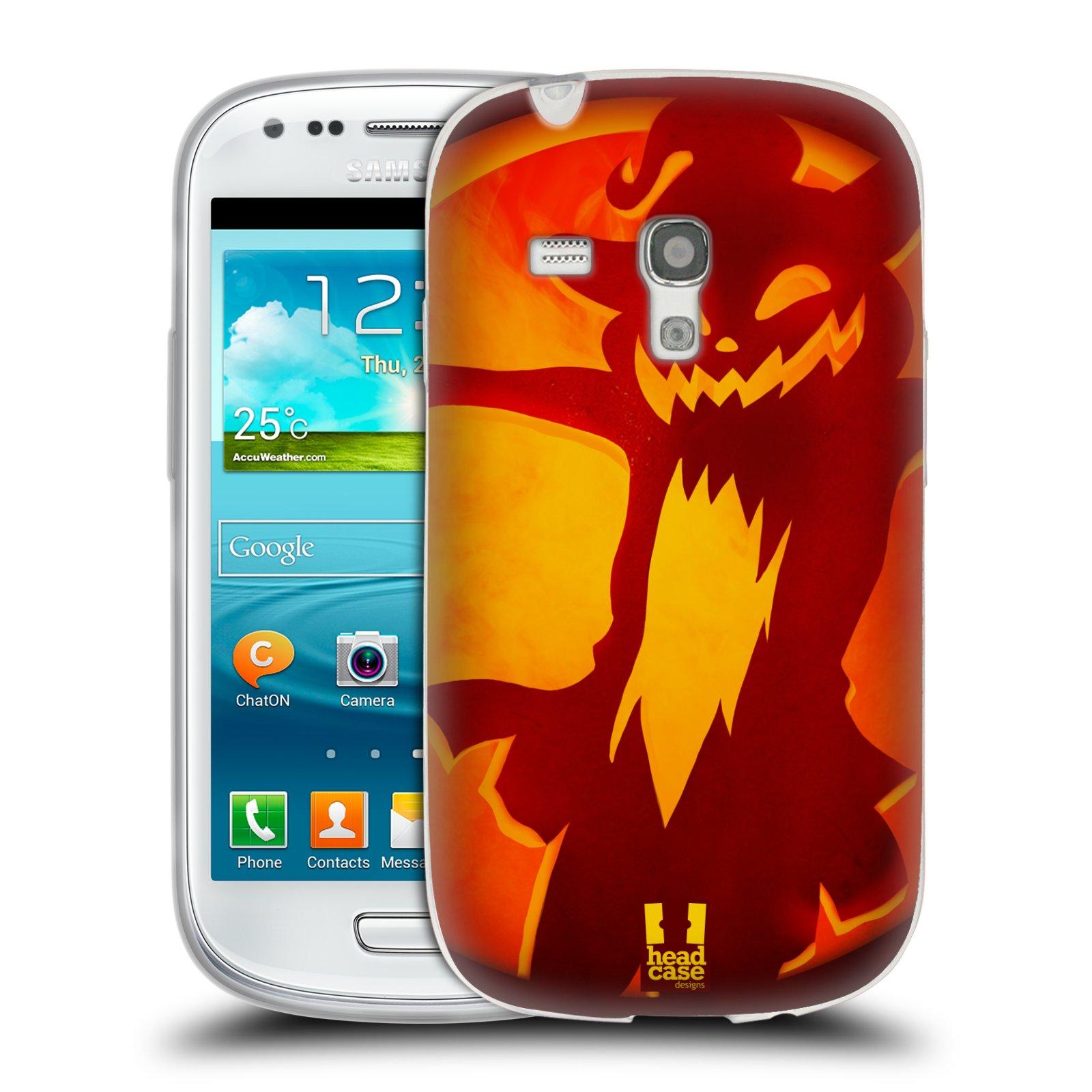 HEAD CASE silikonový obal na mobil Samsung Galaxy S3 MINI i8190 vzor odraz svítilny oranžová KOČKA 2