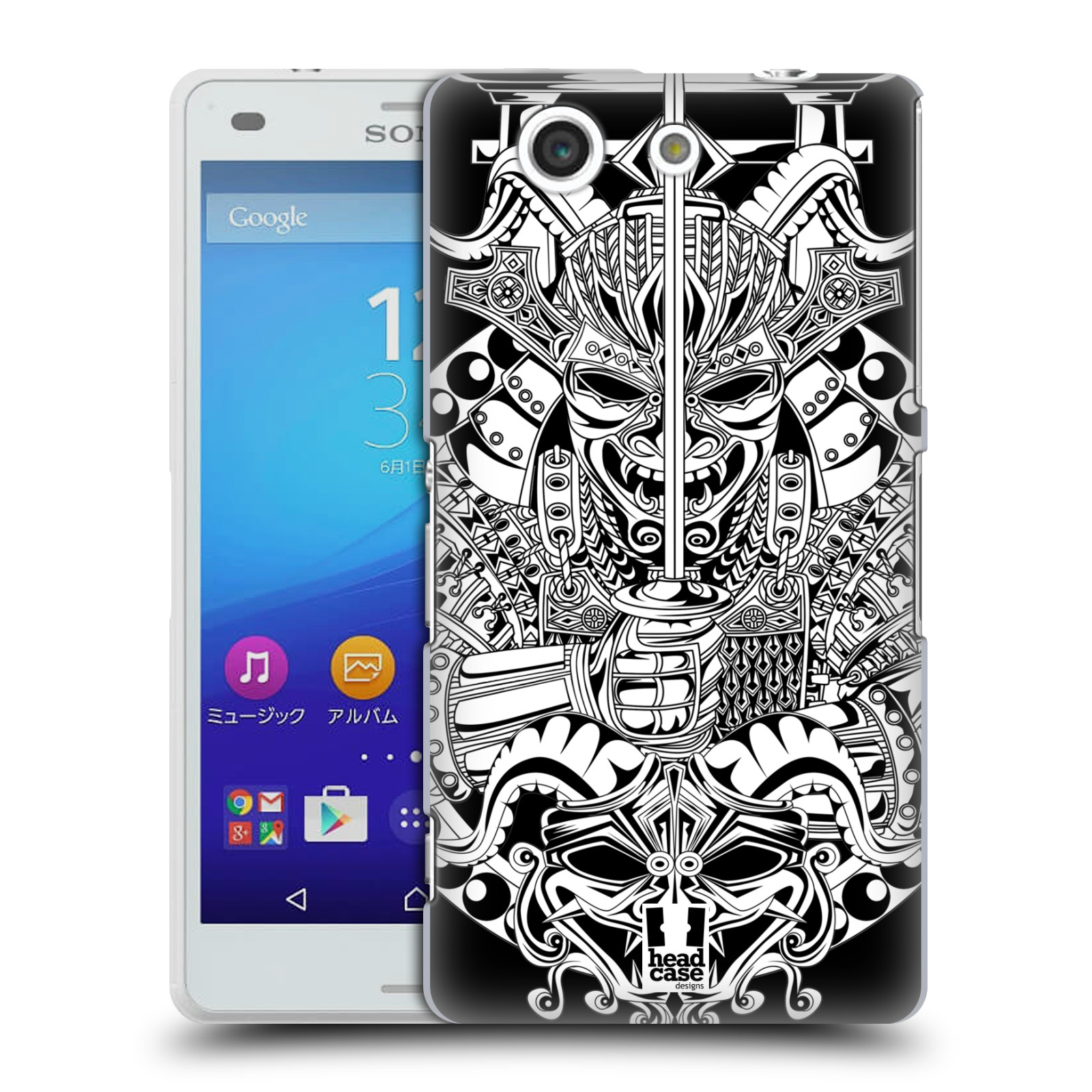 HEAD CASE DESIGNS JAPANESE DEVIL MASK BLACK AND WHITE CASE FOR SONY XPERIA A4