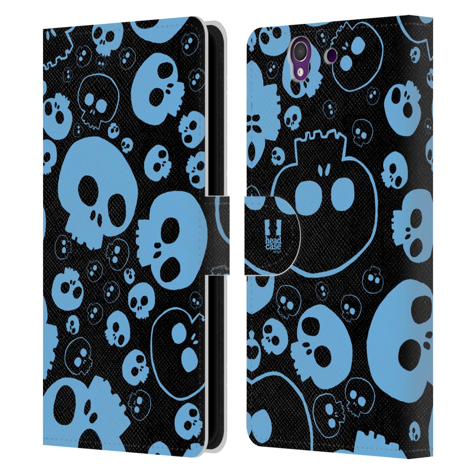 HEAD CASE Flipové pouzdro pro mobil SONY XPERIA Z (C6603) barevné lebky modrá