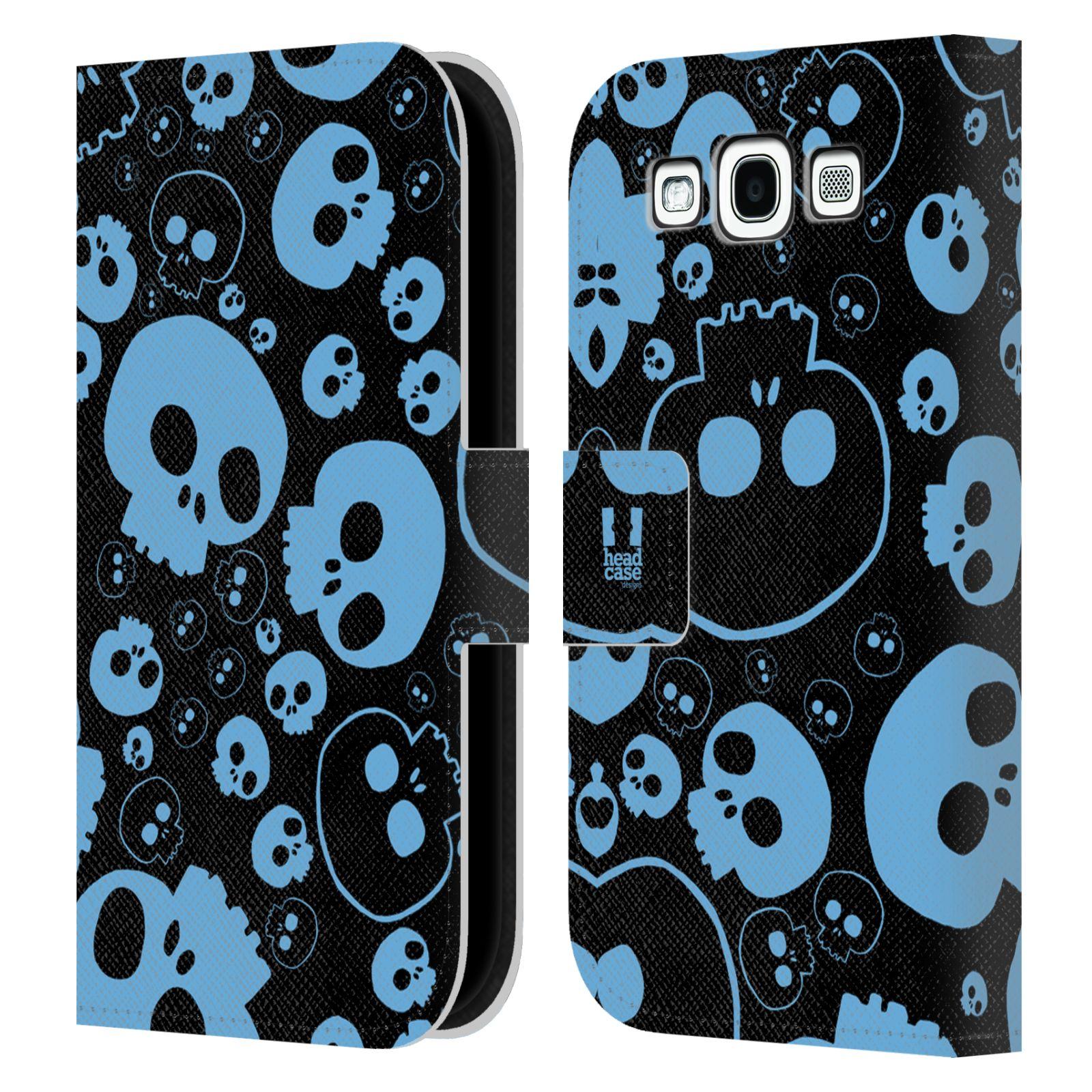 HEAD CASE Flipové pouzdro pro mobil Samsung Galaxy S3 barevné lebky modrá