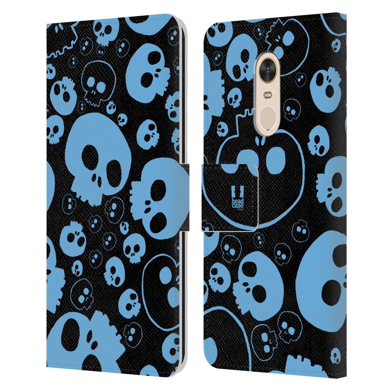 HEAD CASE Flipové pouzdro pro mobil Xiaomi Redmi Note 5 barevné lebky modrá