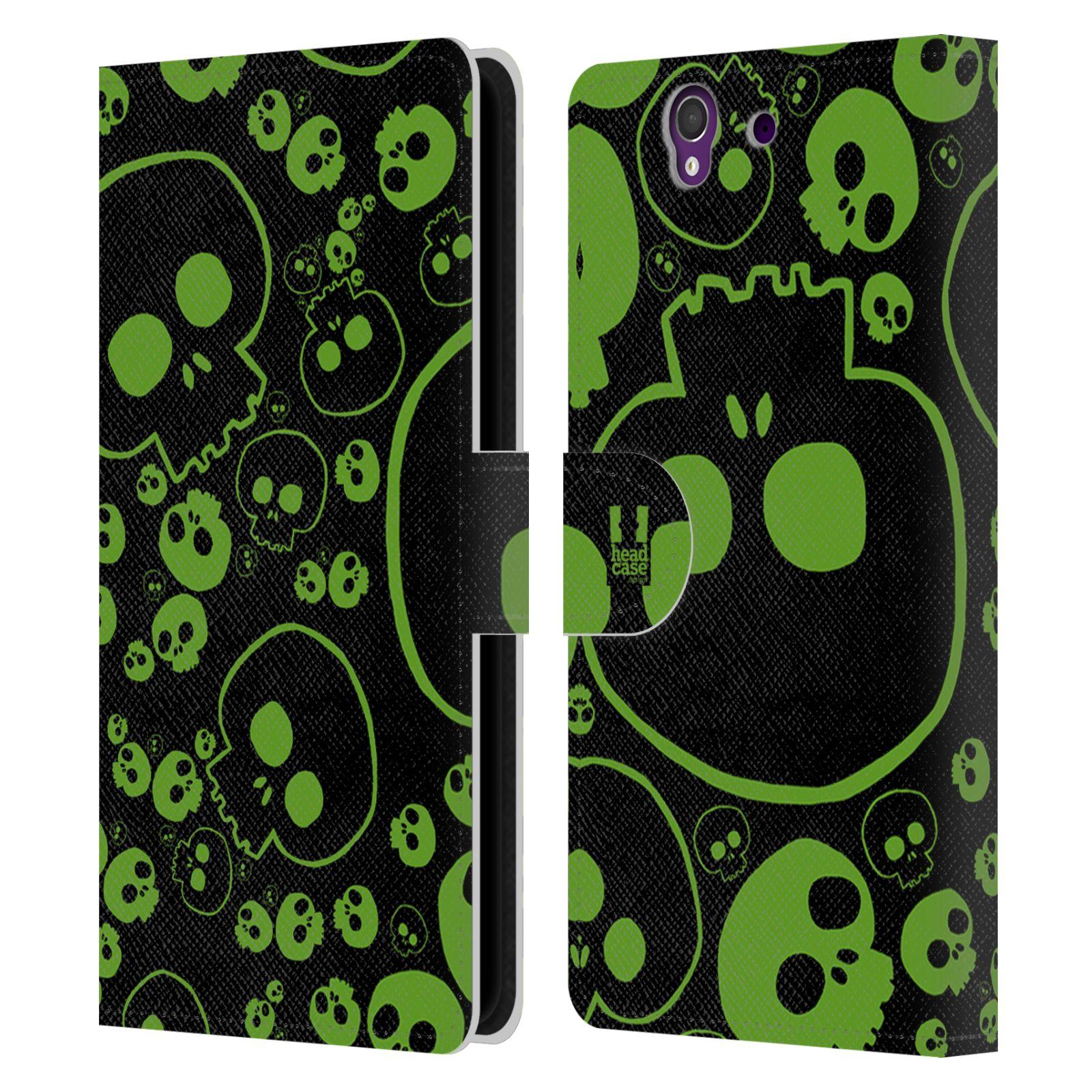 HEAD CASE Flipové pouzdro pro mobil SONY XPERIA Z (C6603) barevné lebky zelená