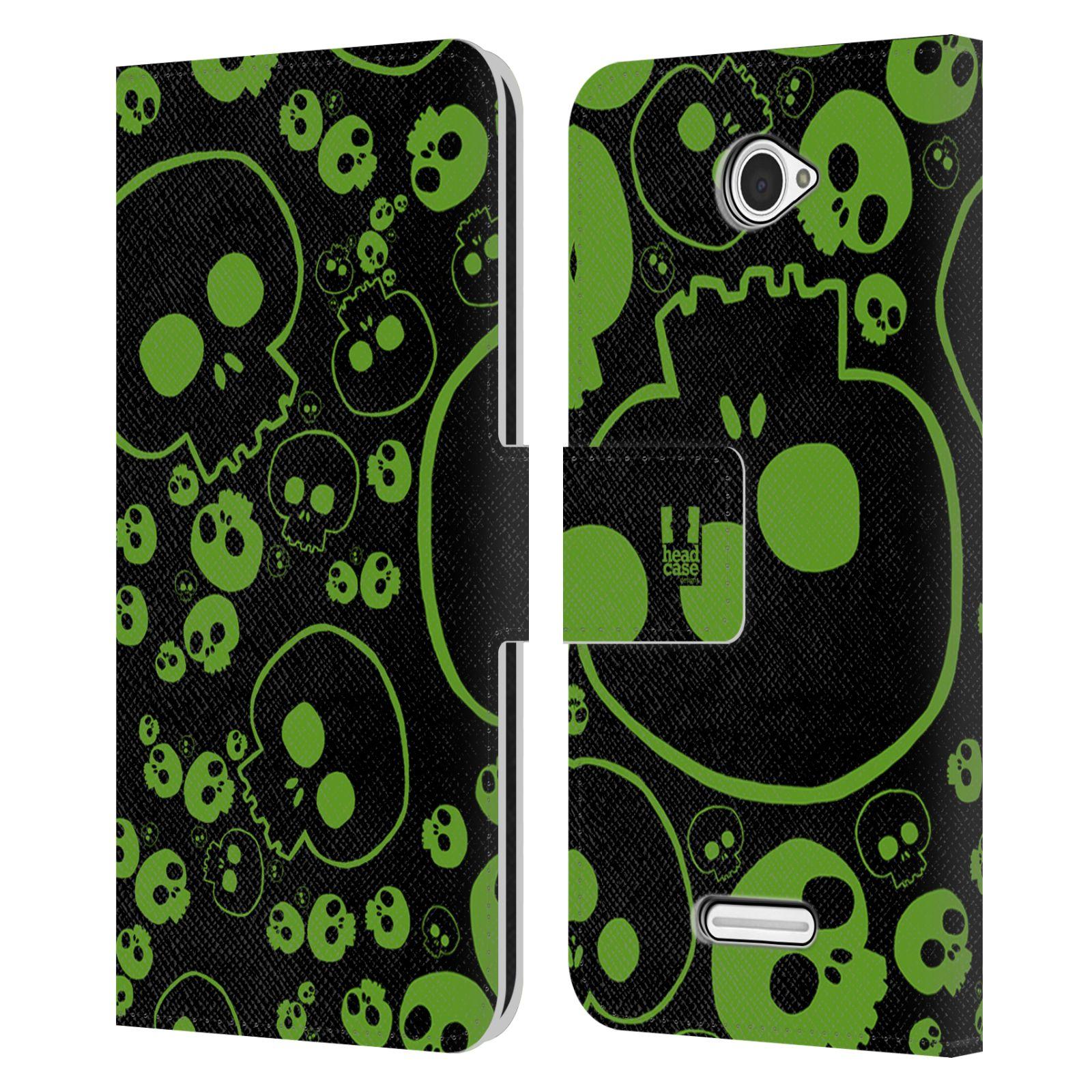 HEAD CASE Flipové pouzdro pro mobil SONY XPERIA E4 barevné lebky zelená