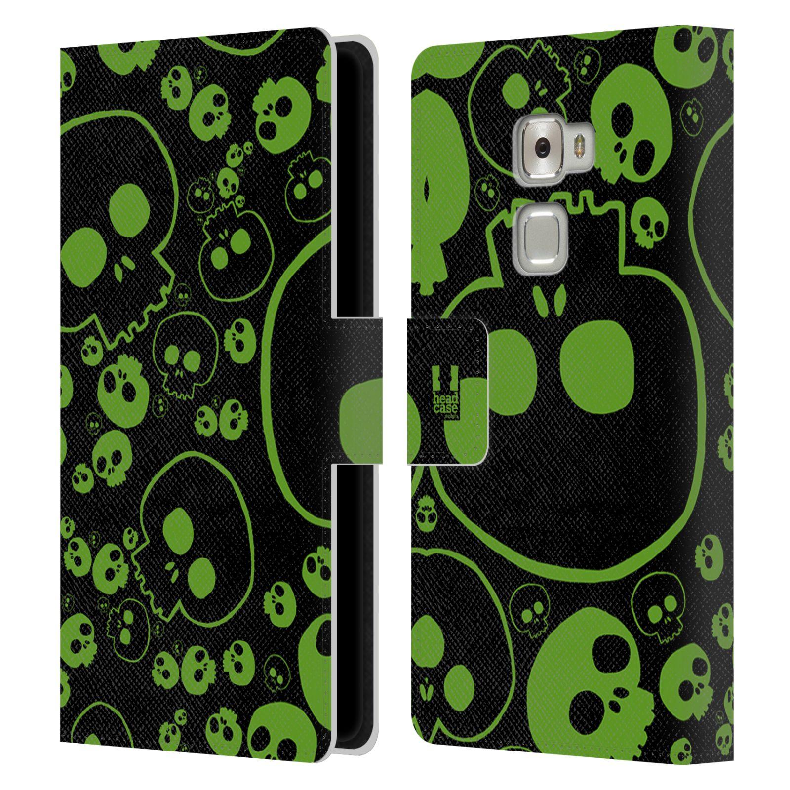 HEAD CASE Flipové pouzdro pro mobil Huawei MATE S barevné lebky zelená