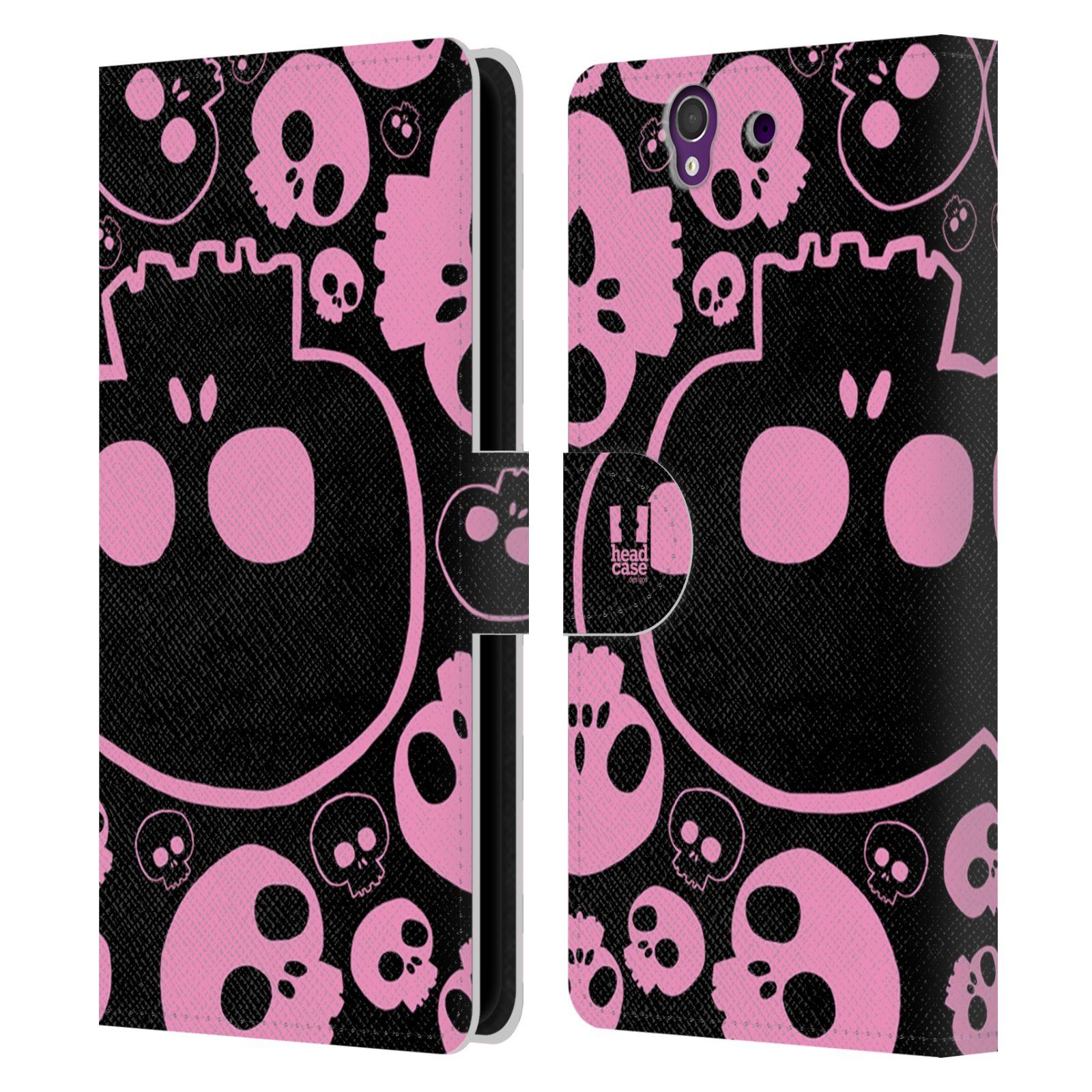 HEAD CASE Flipové pouzdro pro mobil SONY XPERIA Z (C6603) barevné lebky růžová