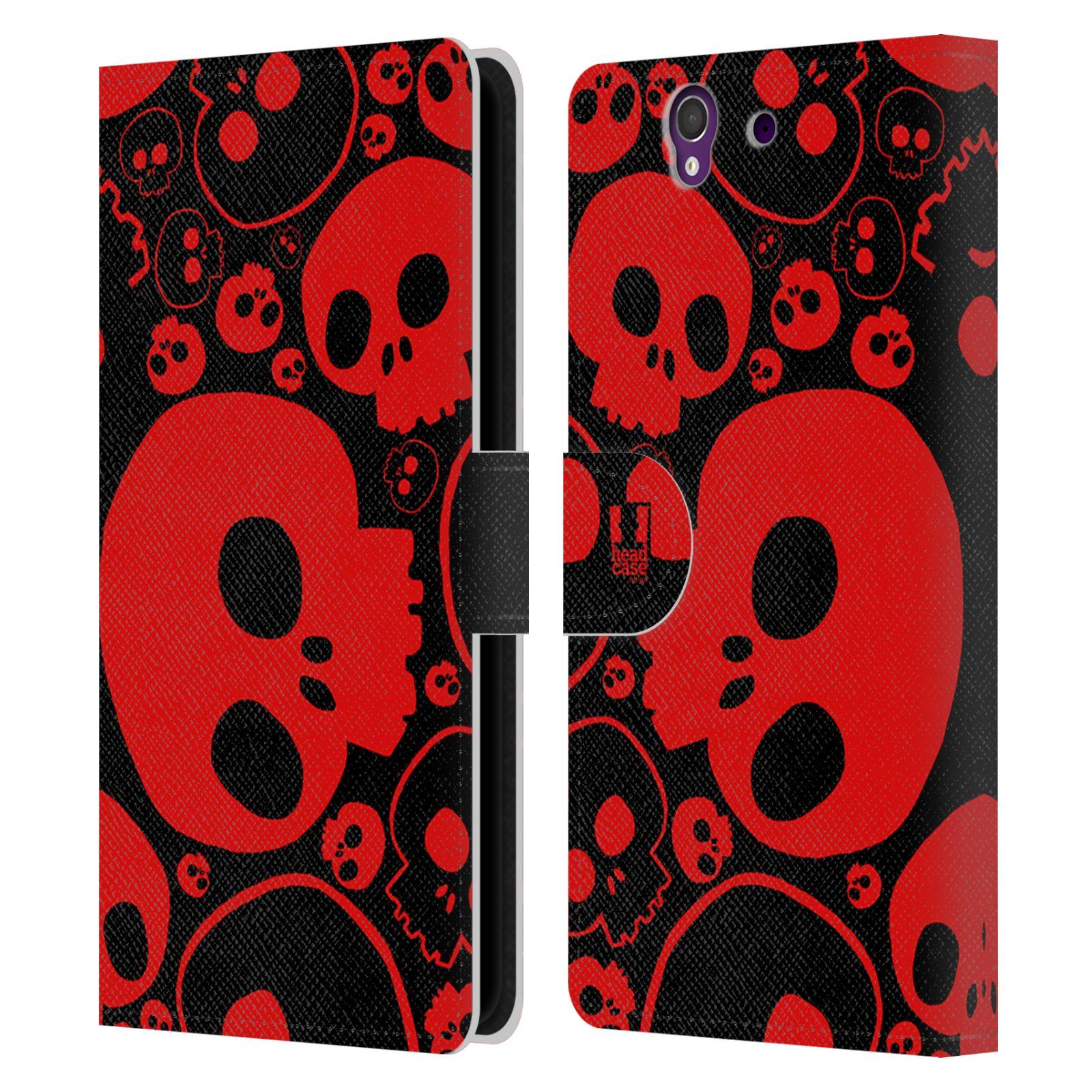 HEAD CASE Flipové pouzdro pro mobil SONY XPERIA Z (C6603) barevné lebky červená