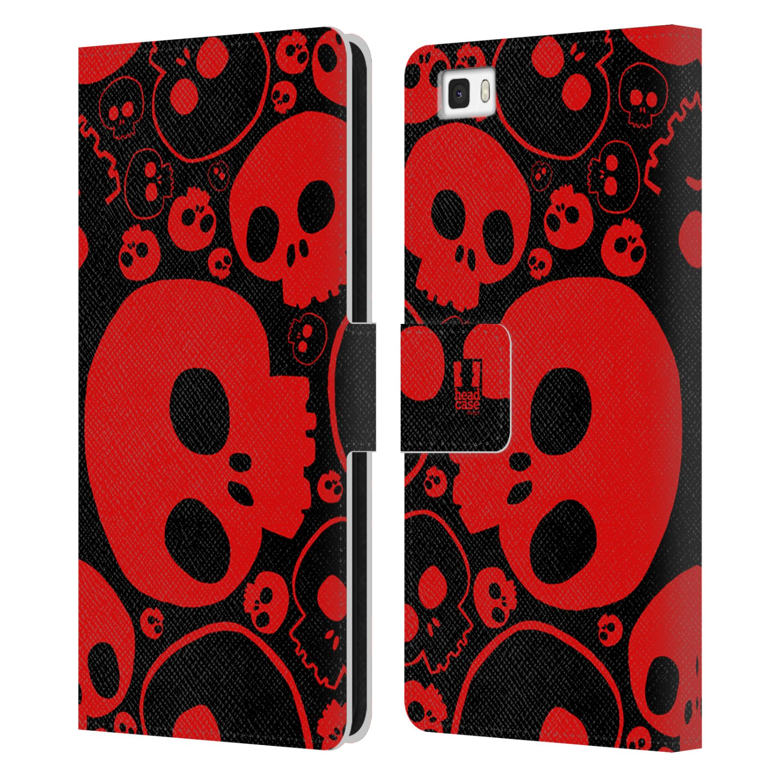 HEAD CASE Flipové pouzdro pro mobil Huawei P8 LITE barevné lebky červená
