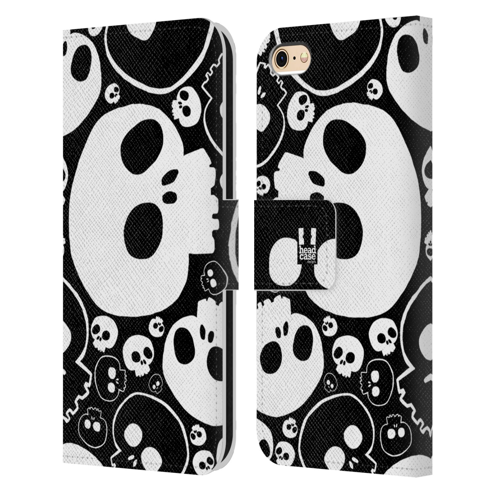 HEAD CASE Flipové pouzdro pro mobil Apple Iphone 6/6s barevné lebky bílá