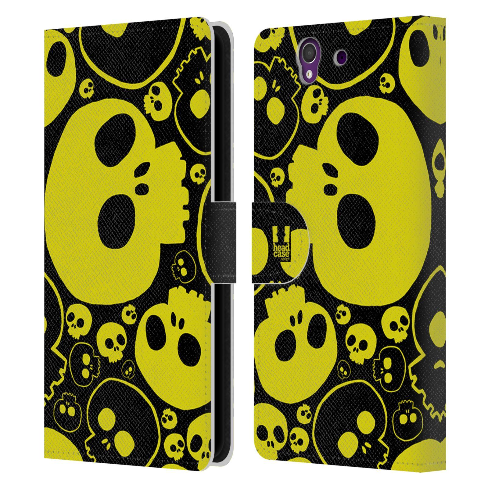 HEAD CASE Flipové pouzdro pro mobil SONY XPERIA Z (C6603) barevné lebky žlutá
